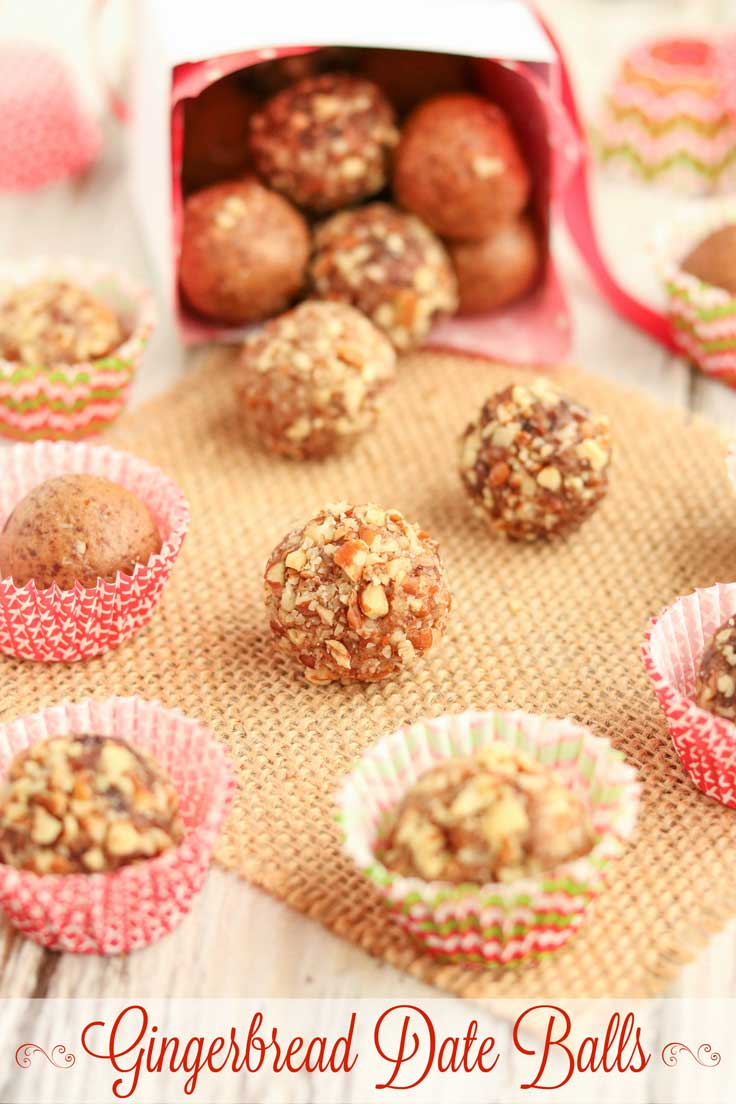Easy no-bake holiday treats! These delicious Gingerbread Date Balls take just minutes to make! They're filled with yummy, holiday gingerbread spices - indulgent enough for holiday desserts or for pretty Christmas cookie trays, yet nutritious enough for a healthy snack! No guilt in these little indulgences! Bonus: since this date ball recipe is so quick and can be made ahead and frozen, it's perfect for last-minute, homemade DIY gifts, too! Can be made nut-free. | www.TwoHealthyKitchens.com