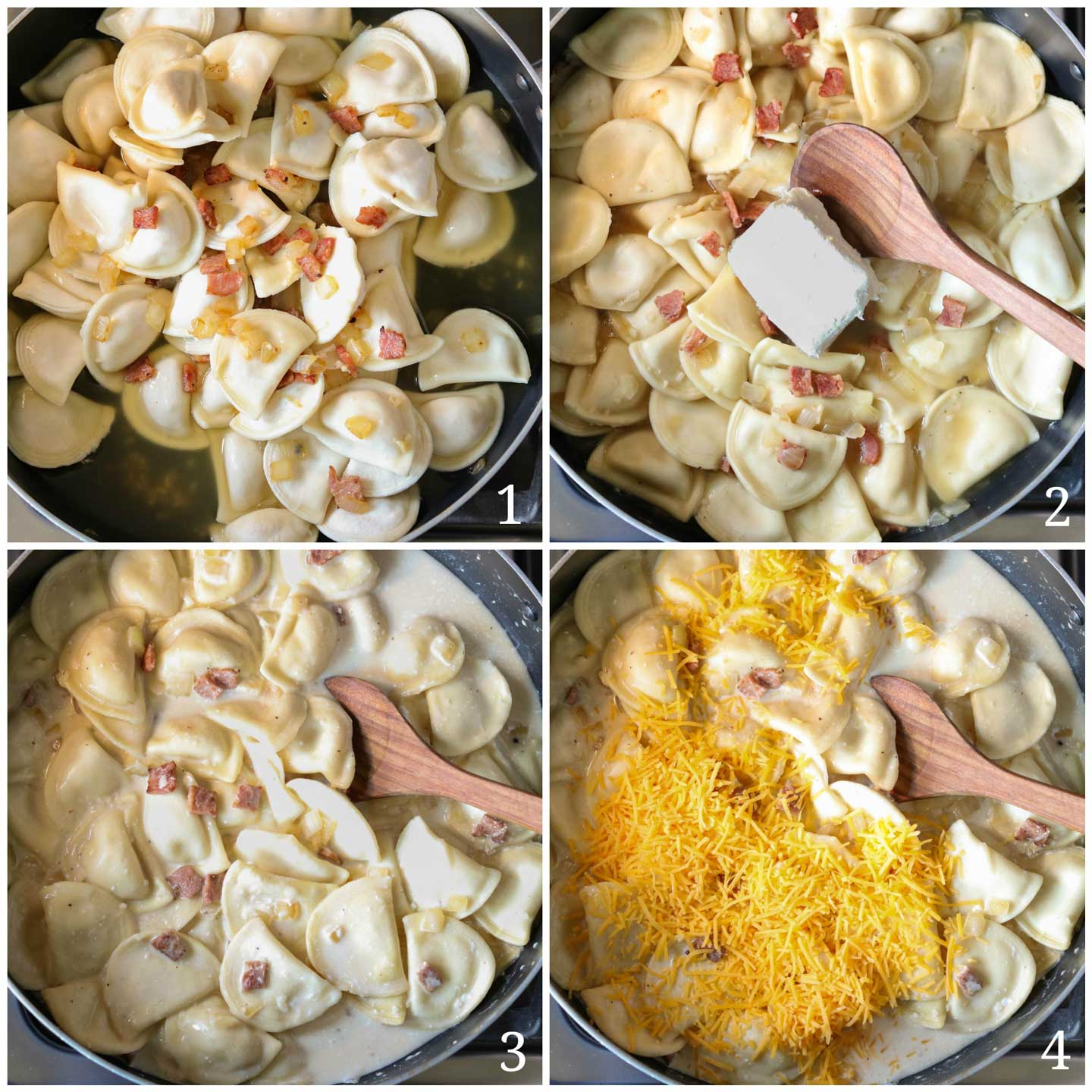 Cheesy Blt Pierogi Skillet Dinner Two Healthy Kitchens