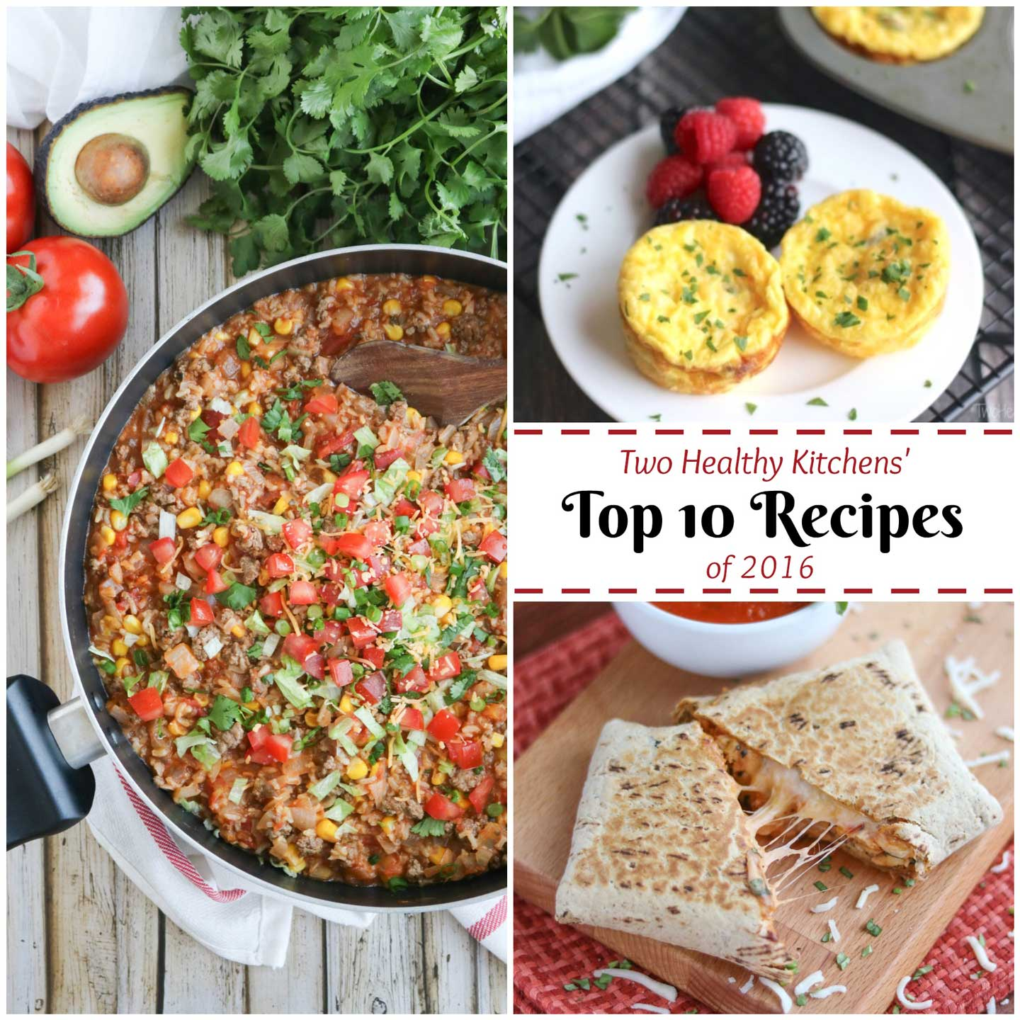 Easy, healthy recipes your whole family will love! These favorite recipes are absolute must-tries – our most popular recipes of the year! From the runaway hit recipe for our Chicken Parmesan Wraps to Crustless Breakfast Quiche Cups, a fast Taco Skillet Dinner … and even 2-Ingredient Dog Treats! These easy recipes are healthy and delicious, and so quick and easy, too! Easy weeknight dinners, make-ahead breakfasts, grab-and-go meals, freezer meals, and more! | www.TwoHealthyKitchens.com