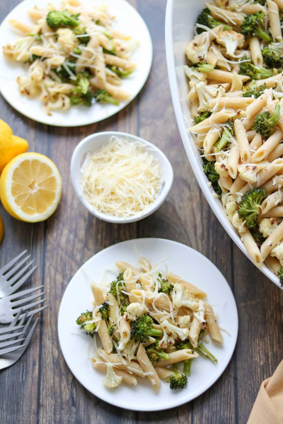 This scrumptious Roasted Broccoli and Cauliflower Pasta recipe has so much vegetable nutrition jammed into each delicious bite! With 16 whopping cups of cauliflower and broccoli, your vegetable side dish is already mixed into the main course! An easy meal-in-one!