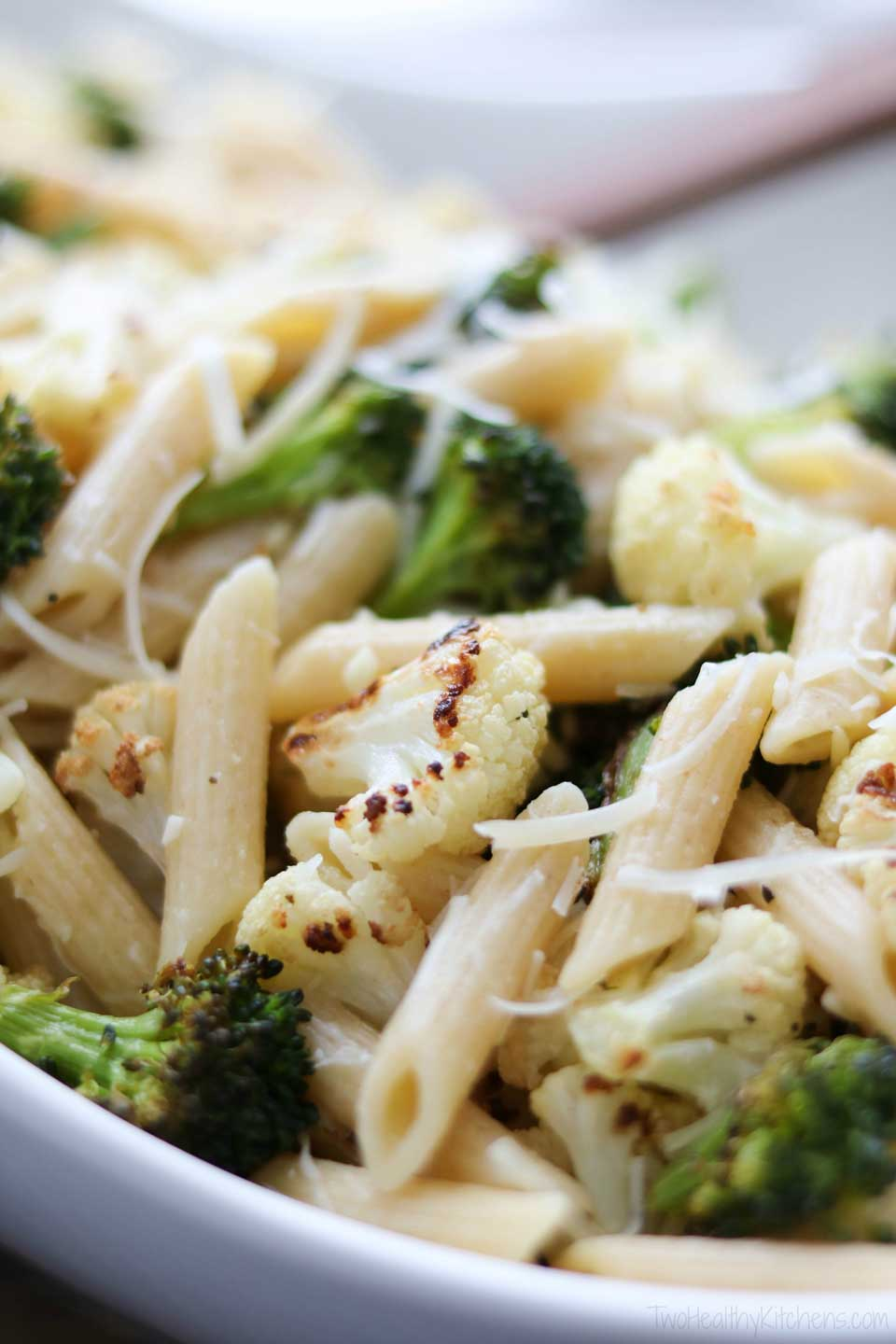 Pasta with parmesan cheese is a simple and elegant meal, but the flavor and nutrition profiles get a huge bump when you add roasted vegetables to this quick dinner recipe!