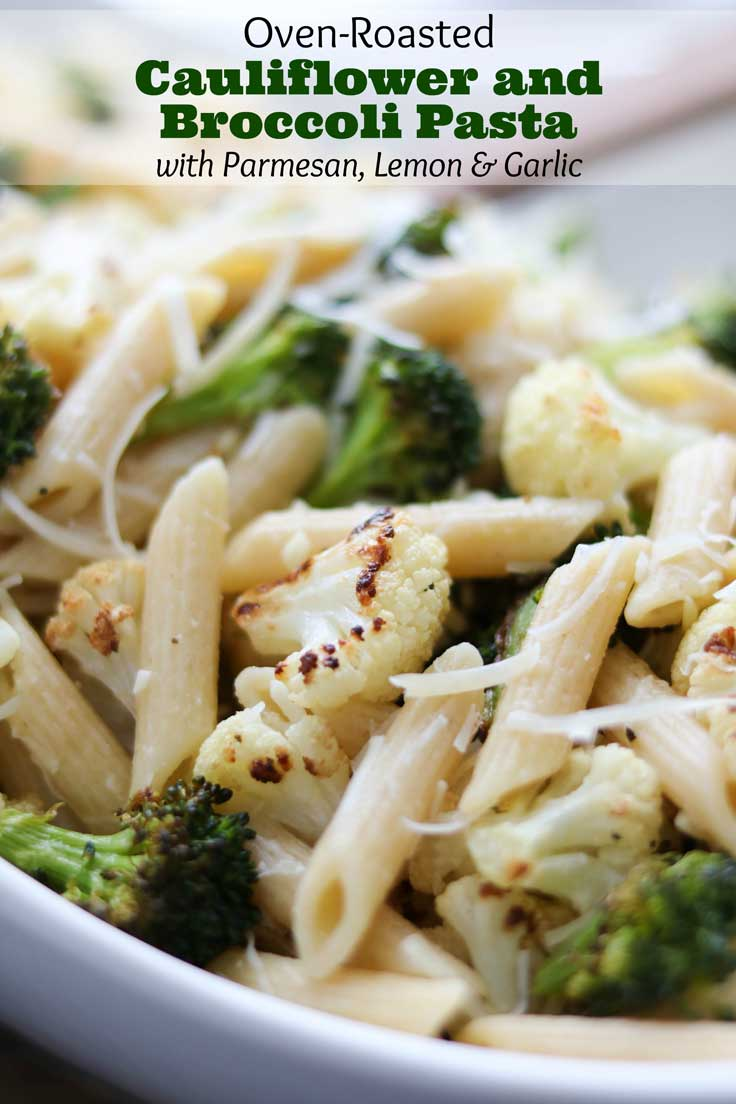 An easy, deeply flavorful pasta recipe featuring roasted cauliflower and broccoli - plus parmesan cheese, garlic and bright lemon juice to round out the salty-umami-tangy symphony of tastes. Deceptively simple: a 30-minute meal with just a few ingredients that add up to surprisingly big, big flavors! And with all the roasted broccoli and cauliflower, it's a quick meal-in-one perfect for busy nights or Meatless Monday! A quick vegetarian dinner your family will love! | www.twohealthykitchens.com