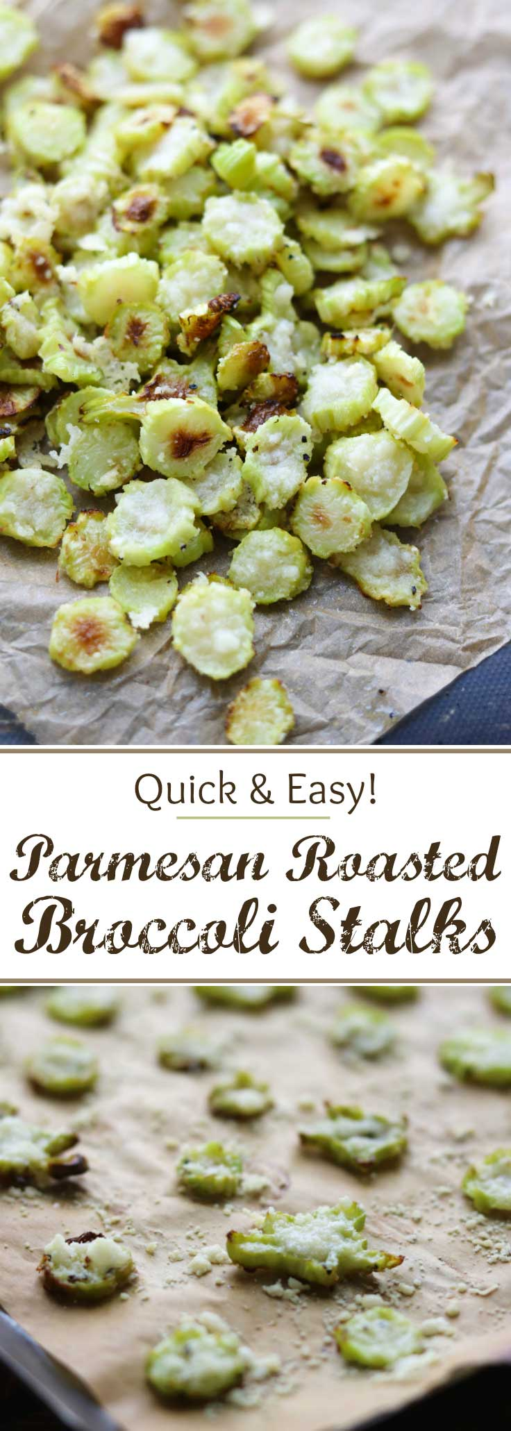 Save money – don't throw away your broccoli stalks! These Parmesan Roasted Broccoli Stalks are so easy and even kids love them! Really! Roasted Parmesan Broccoli Stems are a great healthy snack recipe, or a quick dinner side dish recipe. These oven roasted broccoli chips are quick and easy, and they deliciously use a part of the broccoli that's often discarded. Plus, you get some really cute, fun shapes, too – a perfect way to get your kids to eat more vegetables! | www.TwoHealthyKitchens.com