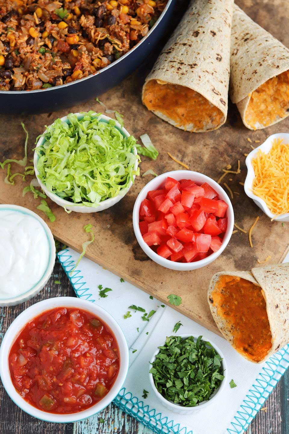 You can also make up a big batch of Ta-Cones flatbread cones ahead of time, and create a super-fun, do it yourself taco bar with plenty of great toppings! It's a creative twist on traditional taco bars, and so portable for backyard parties, tailgating, and campouts!