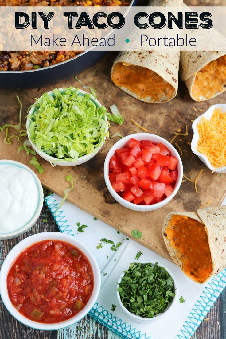 Fun, make-ahead, portable tacos! Great for on-the-go, busy weeknights! These Taco Cones are healthier than traditional Walking Tacos recipes and even more fun! Our DIY Ta-Cones are full of great taco flavor, but they're totally portable! Plus, these healthy beef Taco Cones can be prepped ahead for a yummy, make-ahead taco recipe you can rewarm all week, whenever your family is ready to eat! Perfect for Taco Tuesday, and also for taco bar parties and tailgates! {ad} | www.TwoHealthyKitchens.com