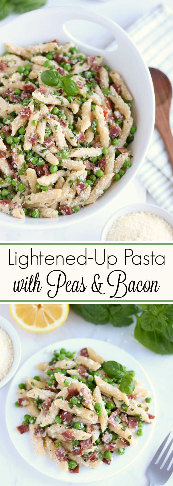 Quick and easy – ready in 20 minutes! This healthy Pasta with Peas and Bacon recipe is bursting with the flavors of smoky bacon, sweet baby peas, bright lemon, and rich parmesan cheese ... plus fresh basil and just a bit of garlic! This easy pasta recipe relies mainly on pantry and icebox staples, and can even be partially made ahead – it's a true family favorite for busy nights! Pasta with bacon is a true classic – and you'll love this healthier, delicious twist! | www.TwoHealthyKitchens.com