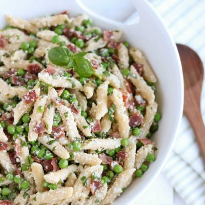 Lightened-Up Pasta with Peas and Bacon
