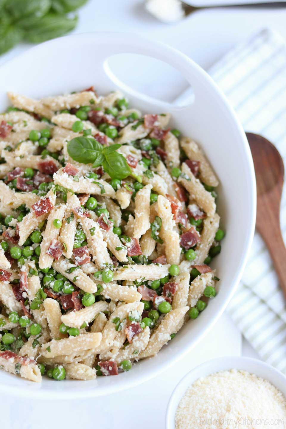 Our healthy Pasta with Peas and Bacon comes together in just minutes! It's on the table in under 30 minutes, and bursting with delicious, satisfying flavors your whole family will love!