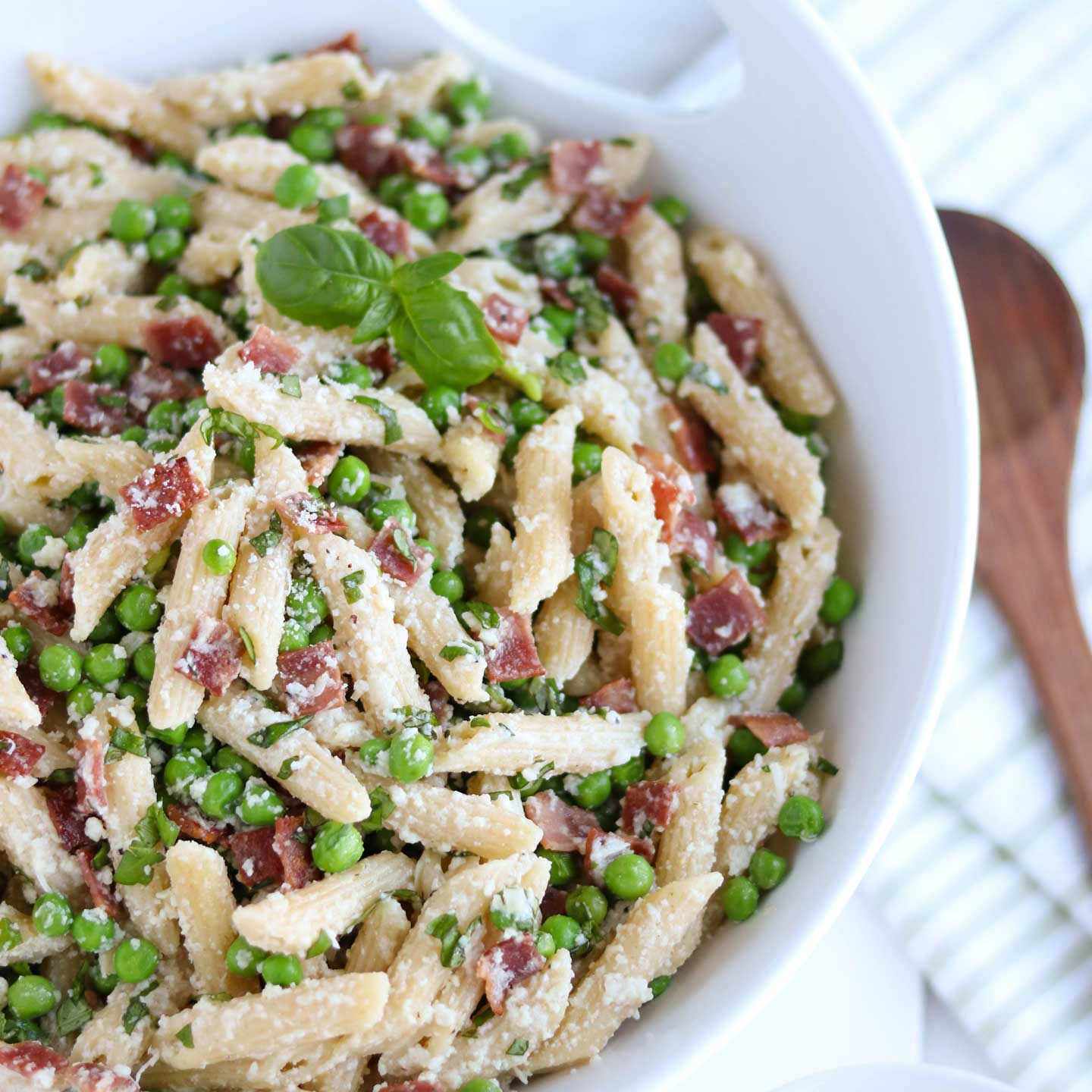 "Dubbed ""Betsy's Peas and Pasta"" at our house, this recipe is a true family favorite!"
