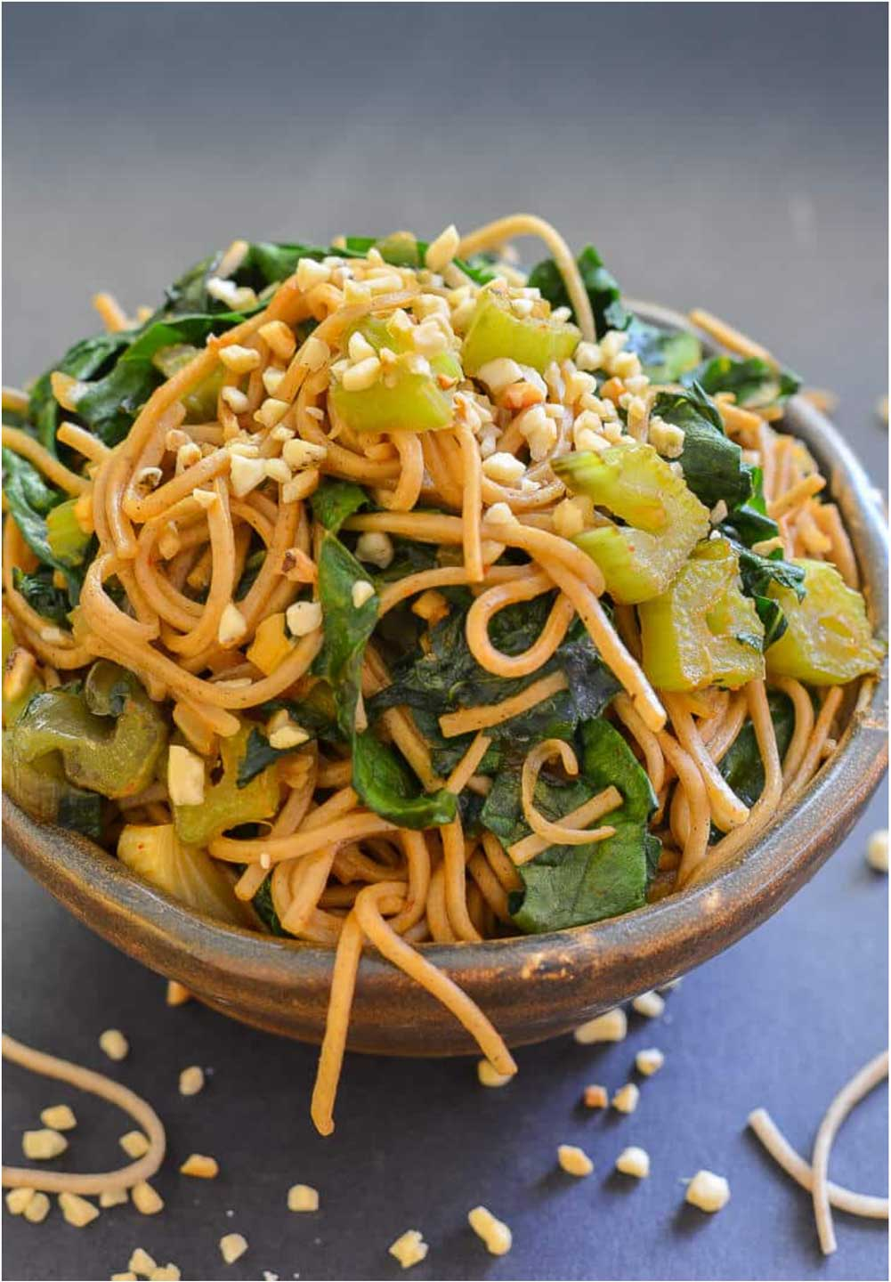 This Spicy Swiss Chard Soba Noodle Stir Fry uses the Swiss chard stems that are typically thrown away. A great way to eat ALL your veggies – stems and all!