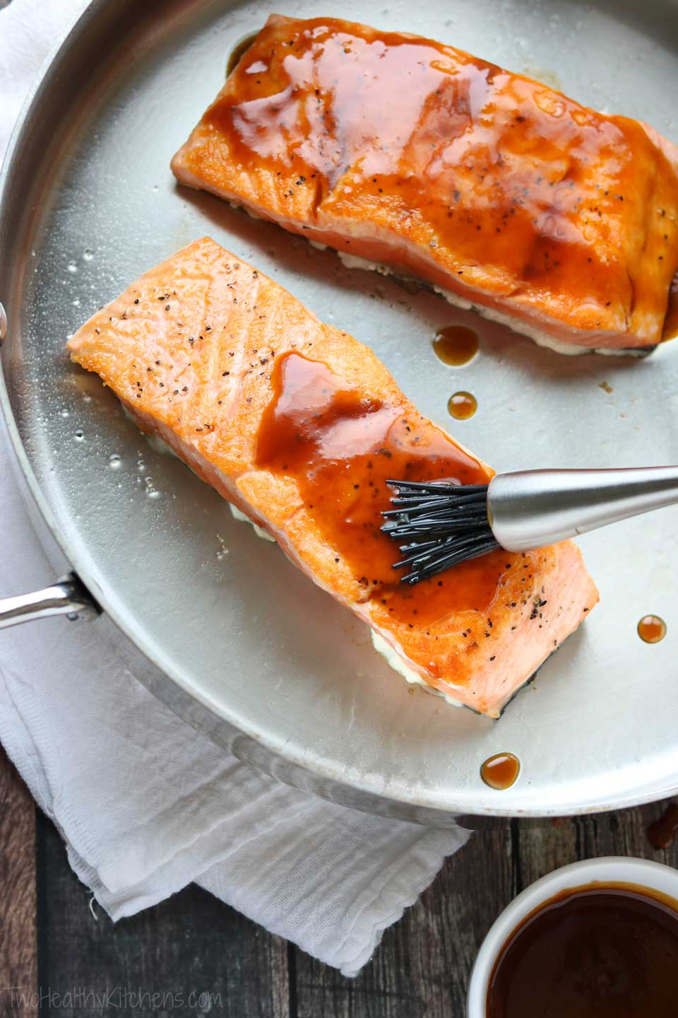 Brushed on just before the salmon is baked, the Red-Miso Glaze is an intensely flavorful addition.