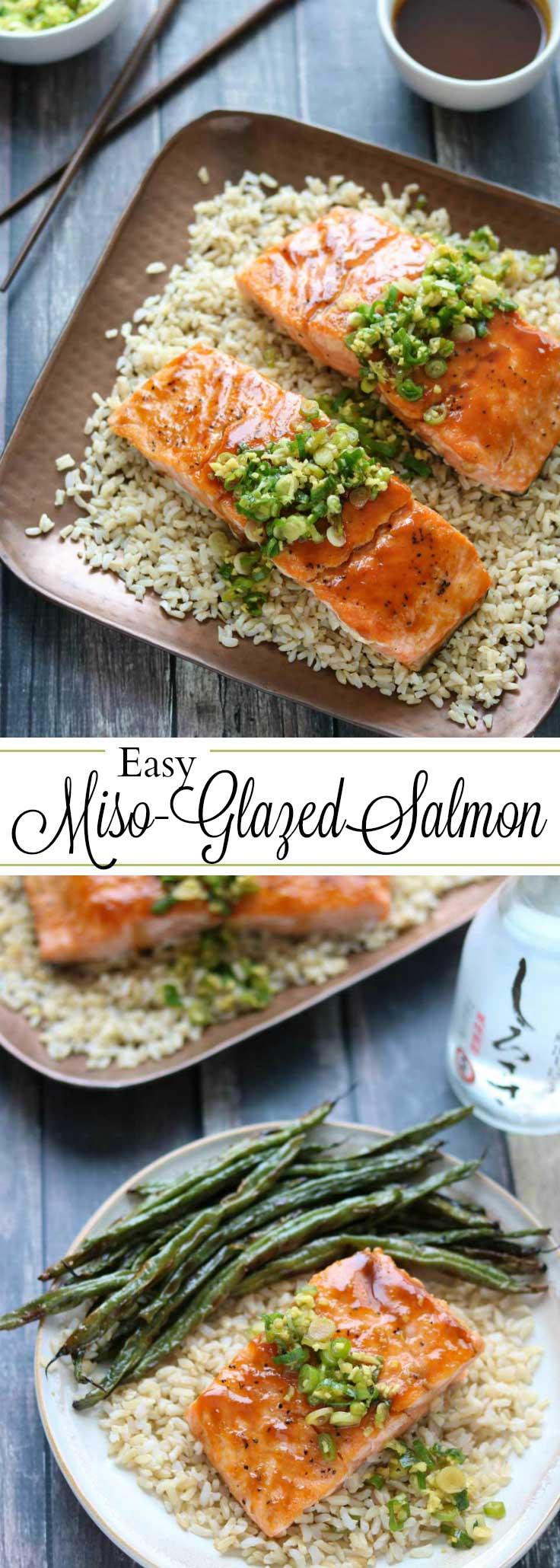 Impressive and delicious … in 30 minutes! Our Red-Miso Glazed Salmon is bursting with bright, savory Asian flavors. This easy salmon recipe was inspired by one of our fave OBX restaurants - Buddha'Licious in Corolla, North Carolina. It's satisfying and vibrantly delicious - the perfect way to elevate a healthy salmon recipe to superstar status! Plus, you can make most of this Glazed Salmon recipe ahead of time, so it's perfect for busy nights or wowing guests!   www.TwoHealthyKitchens.com