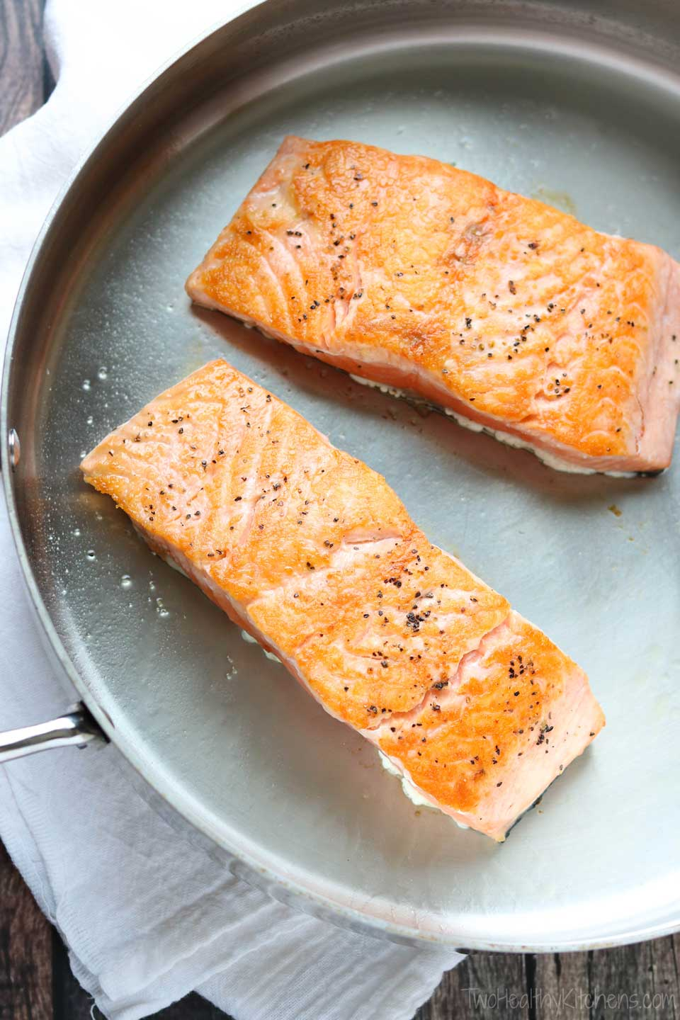 Quickly searing the salmon creates a deliciously crisp outer crust.