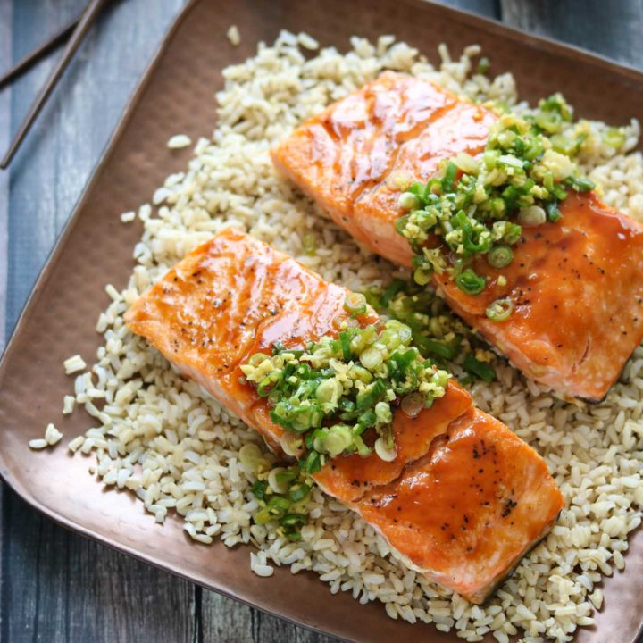 Red-Miso Salmon with Ginger-Scallion Sauce