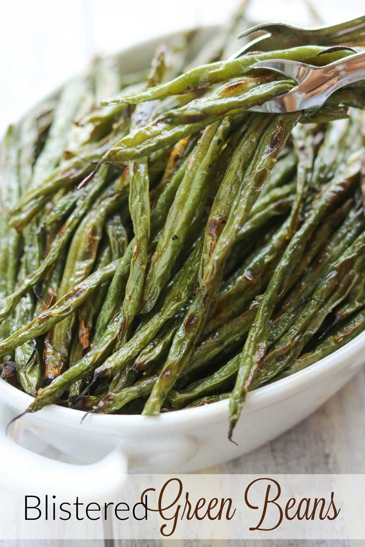 One simple ingredient … amazing results! An easy technique that yields maximum flavor! These Blistered Green Beans are the ultimate in simplicity, yet they're incredibly delicious, with deep, caramelized flavors thanks to the magic of oven-roasting. Blistered, oven-roasted green beans are delicious as an easy side dish for practically any meal, and they're so adaptable, too! Be warned: these roasted green beans disappear FAST, so you'd better make a double batch! | www.TwoHealthyKitchens.com