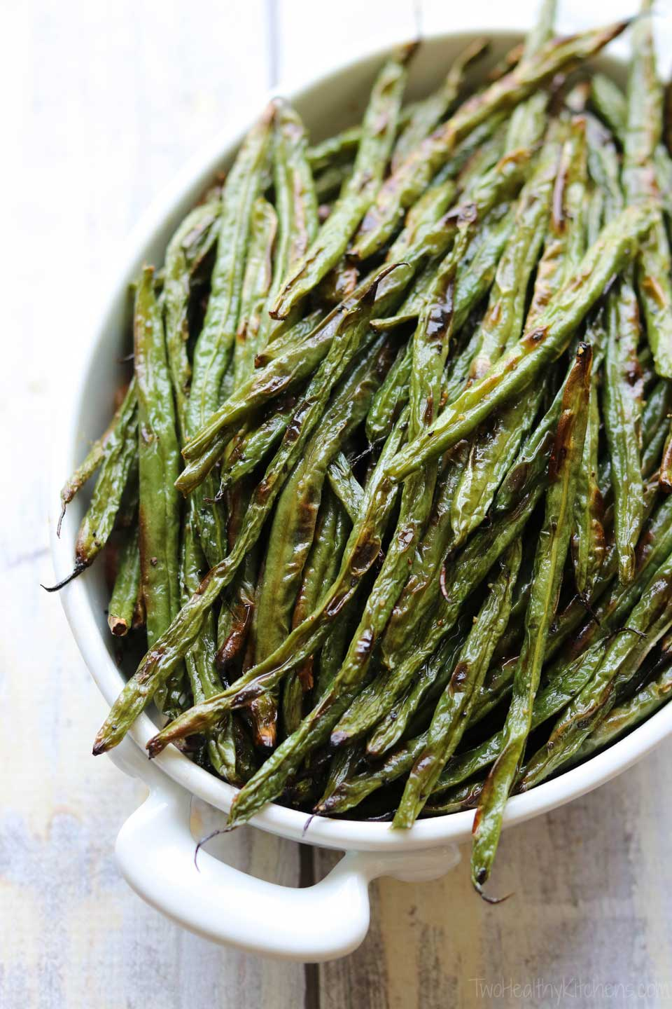 So pretty, but you won't have long to admire them! These Blistered Green Beans disappear in a flash! Seriously – you might want to make a double batch, especially when fresh green beans are abundant at farm stands or straight from the garden!
