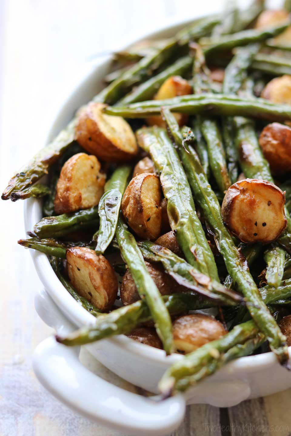 One way we love to change up these roasted green beans is by serving them mixed with roasted red potatoes. It's a quick adaptation that yields another easy side dish idea!