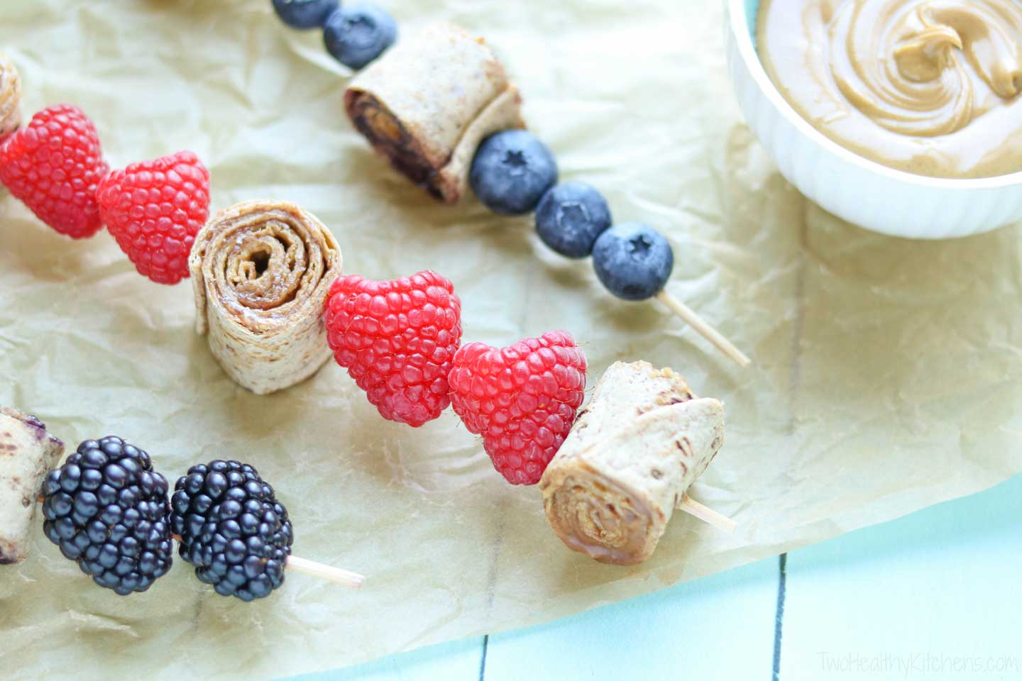 Fresh fruit, like these gorgeous raspberries, is so terrific with these sandwich skewers, but you can also try using dried fruits like plump dried apricots, cherries and plum.