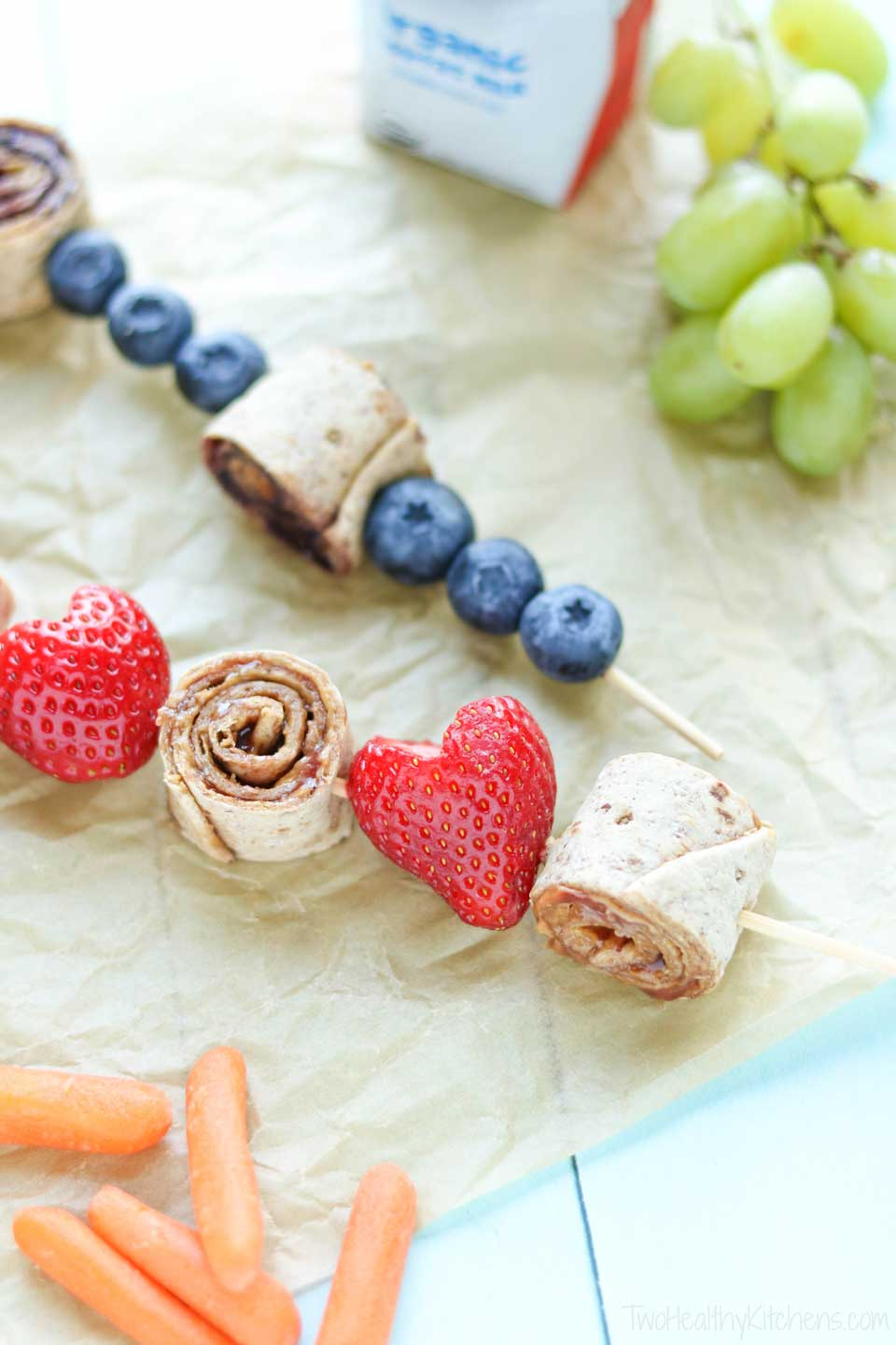 Healthy school lunch recipes don't have to be boring! Reinvent that tried-and-true peanut butter and jelly sandwich as a PB&J roll-up! Thread those cute sandwich pinwheels onto a skewer with nutritious fruit, and in just minutes you've got a creative lunch box meal they'll love!