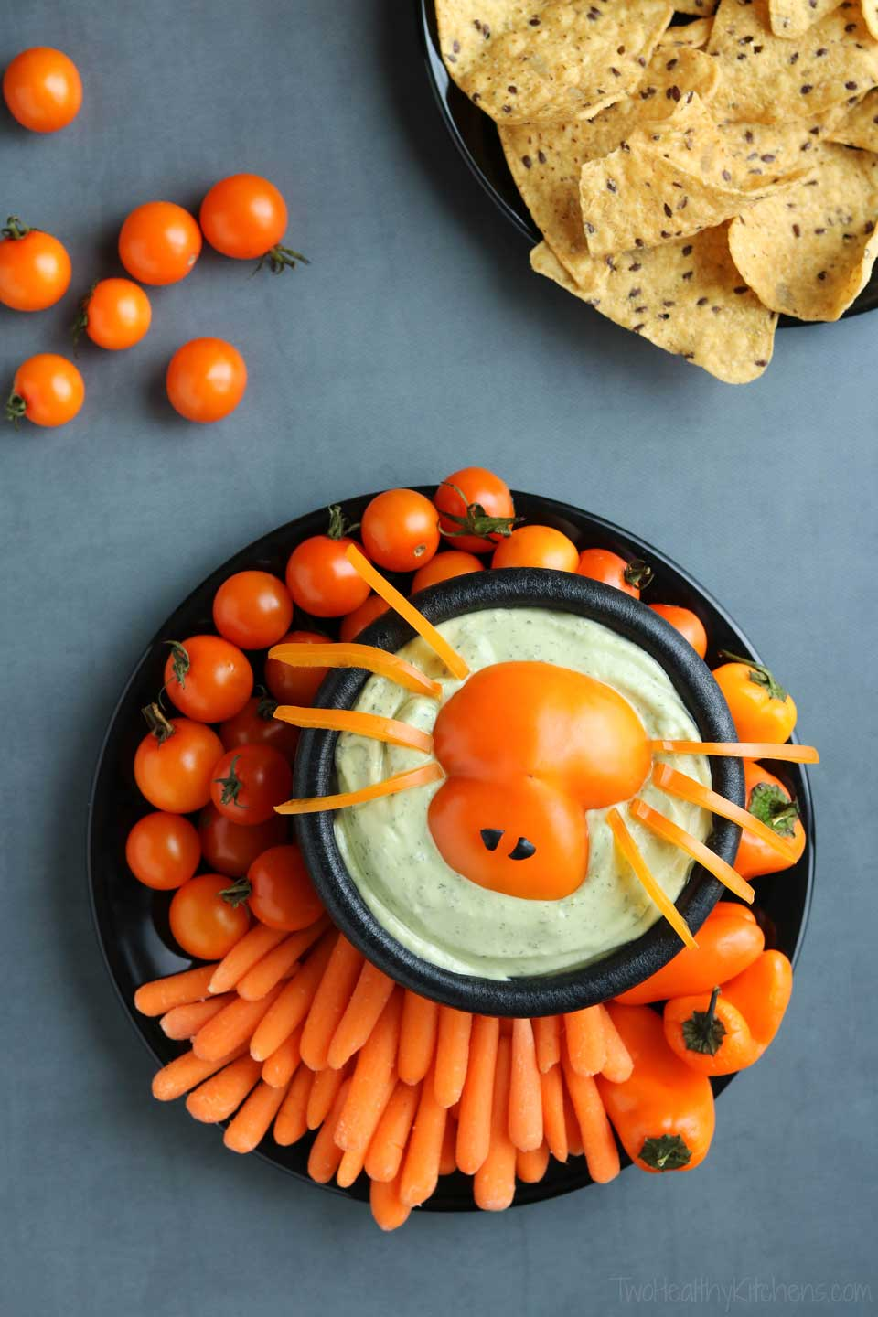 spooky spider halloween appetizer dip - two healthy kitchens