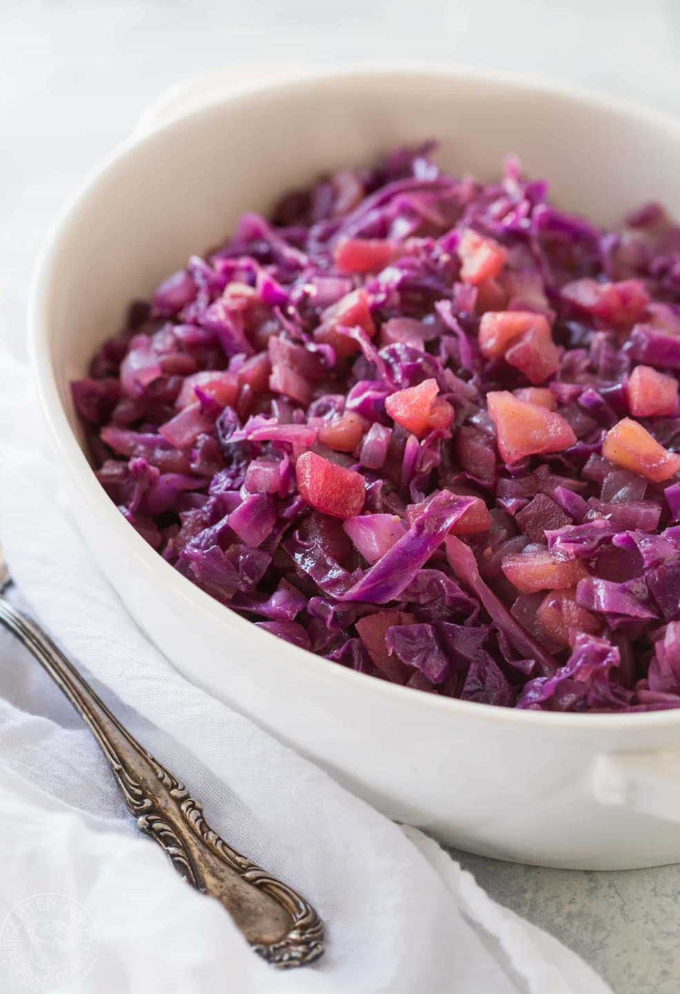 Fall apples and nutritious cabbage are so pretty together in this healthy Thanksgiving side dish!