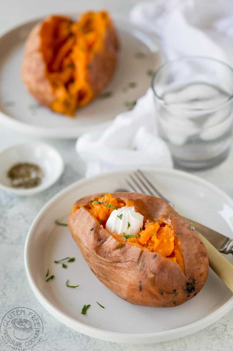 You can cook lots of Thanksgiving vegetable recipes in your Instant Pot, like these simple sweet potatoes. A healthy Thanksgiving side dish that's a perfect blank canvas for all sorts of yummy toppings!