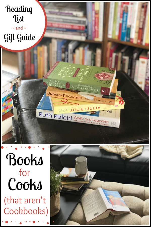 Favorite books, absolutely perfect for foodies and people who love to cook! This terrific list of books for cooks and food lovers includes book suggestions that aren't just cookbooks. Recommended by fellow foodies, these favorites are perfect inspiration, whether you're looking for a gift idea or just looking for your next great read! #giftguide #giftbooks #holidaygifts #booklist #foodbooks #holidaygiftideas #giftideas #foodiegifts #readinglist #holidaygiftguide2017 | www.TwoHealthyKitchens.com