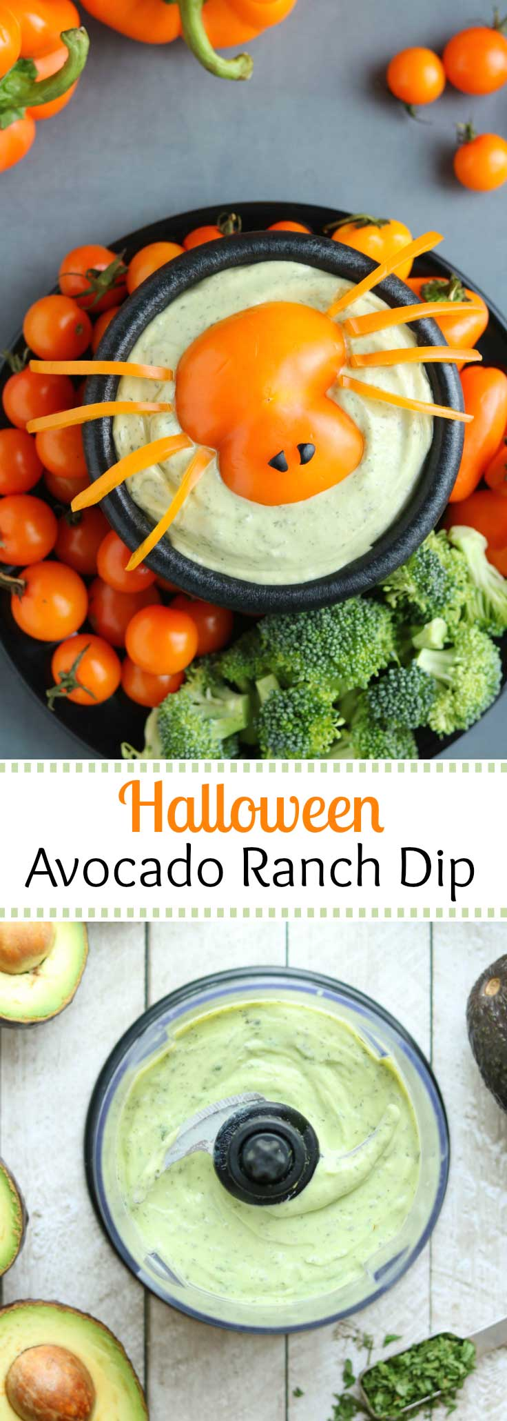 A perfect Halloween appetizer! Top our pretty green Avocado Ranch Dip with our easy-to-make pepper spider! And, since it's ready in just minutes, this appetizer recipe is great for busy hostesses and last-minute parties. So creamy and delicious, like a cross between traditional ranch dip and guacamole! #Halloween #healthyHalloween #Halloweenrecipe #avocado #greekyogurt #appetizer #healthysnacks #appetizerfood #holidayrecipes #healthyrecipes #ranchdip #veggiedip | www.TwoHealthyKitchens.com