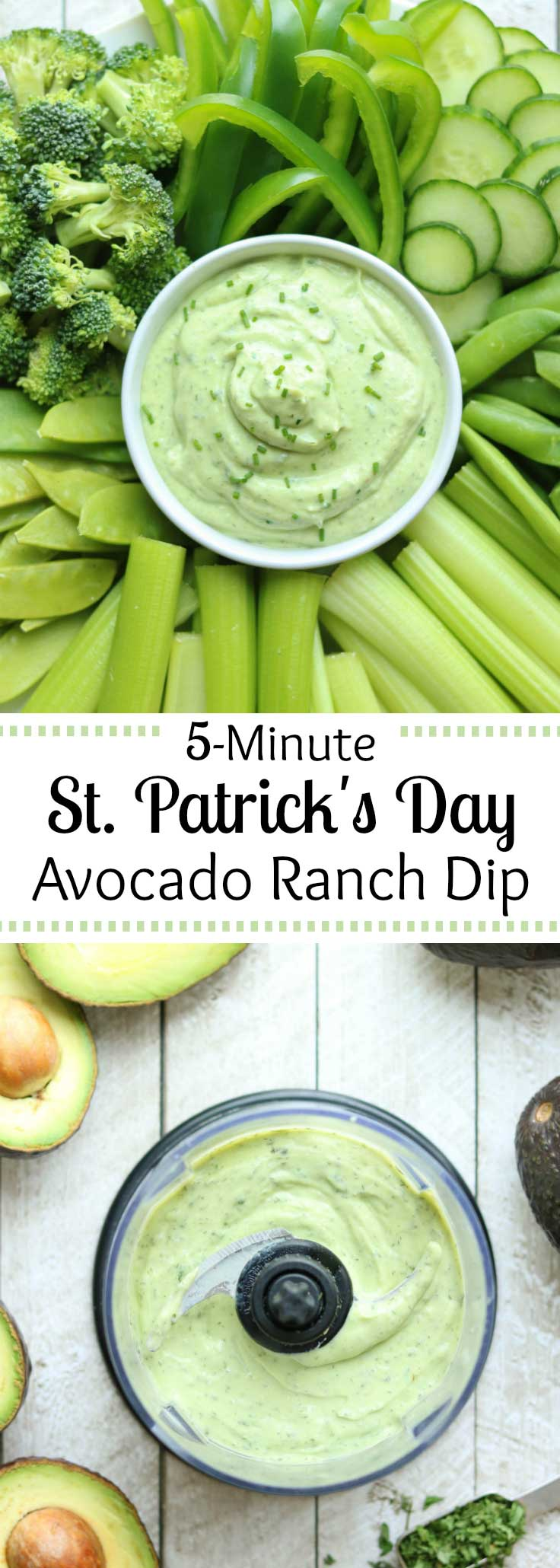 A perfect St. Patrick's Day appetizer! Surround our pretty green Avocado Ranch Dip with festive green veggies! And, since it's ready in just minutes, this appetizer recipe is great for busy hostesses and last-minute parties. So creamy and delicious, like a cross between traditional ranch dip and guacamole! #StPatricksDay #stpattysday #avocado #greekyogurt #appetizer #healthysnacks #appetizerfood #holidayrecipes #healthyrecipes #ranchdip #veggiedip | www.TwoHealthyKitchens.com