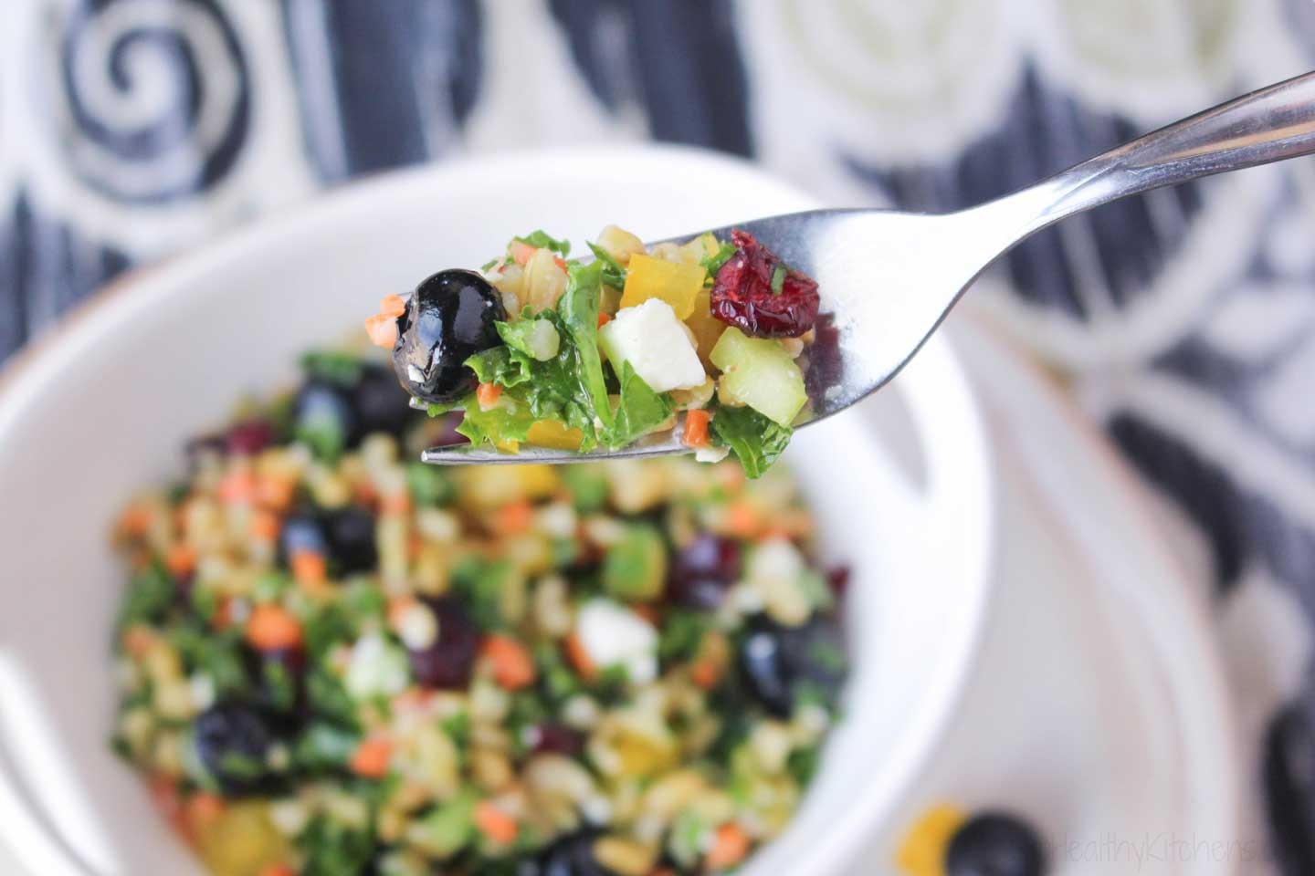 With so many great flavors and textures in every bite, you want your kale leaves to still have some life left in them – you don't want the TOO wilty. That's why confetti bits are perfect in this kale chopped salad recipe!