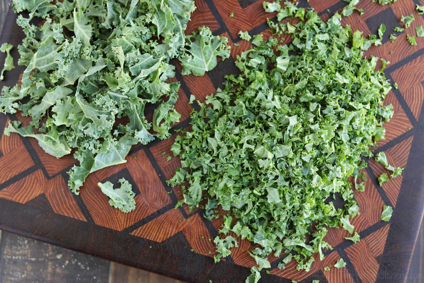 If you want bigger kale leaves in your salad, you may want to consider massaging them first. But the smaller confetti bits on the right are perfect for a kale chopped salad!