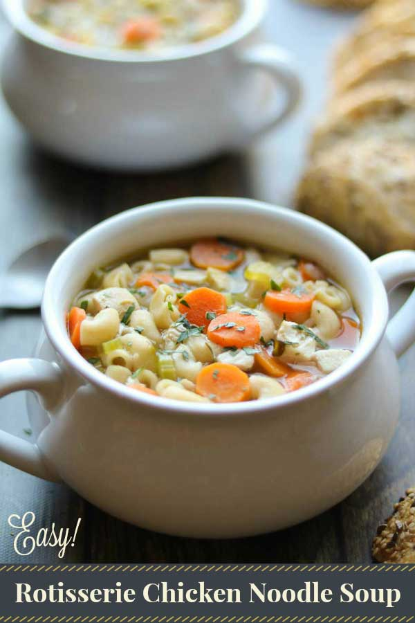 This quick, easy Chicken Noodle Soup is made with rotisserie chicken, and has plenty of shortcuts and make-ahead options, too! Ready in about 30 minutes, and it's even freezable! Full of white meat chicken, whole-grain pasta and flavorful, nourishing veggies, it's hearty comfort food – just what we all need on a chilly day! #chickennoodlesoup #souprecipes #easyrecipe #soup #shortcuts #homemadesoup #comfortfood #coldandflu #healthyrecipes #healthyliving | www.TwoHealthyKitchens.com