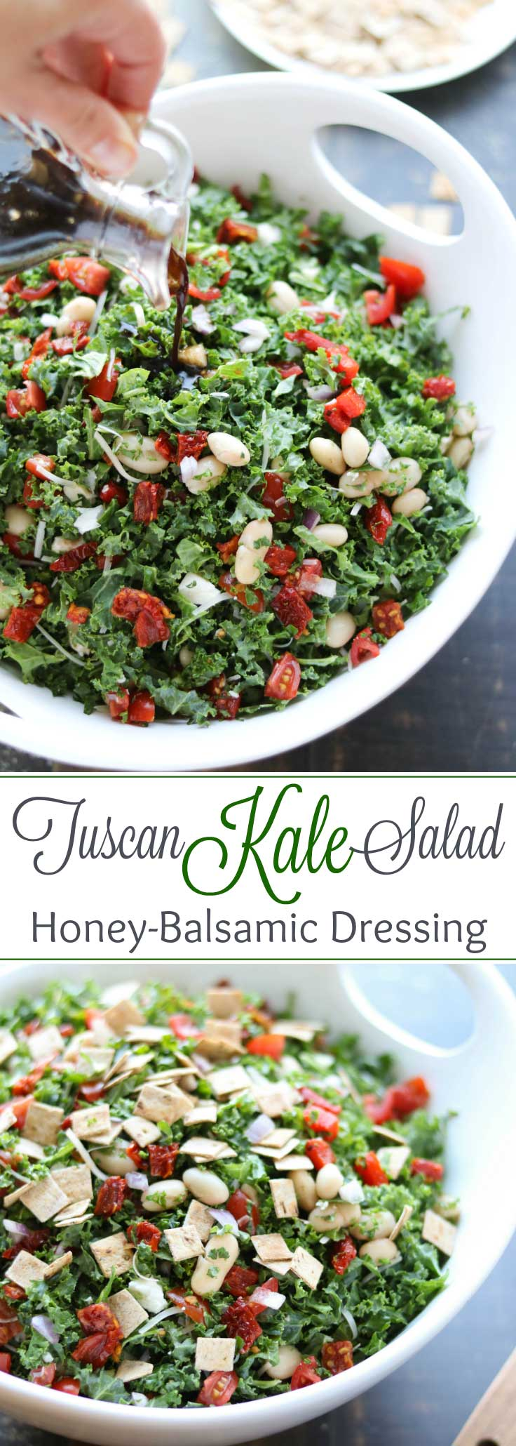 Loaded with so much great flavor and texture in every bite! This Tuscan Kale Salad with Honey-Balsamic Vinaigrette is so incredibly delicious ... you won't even notice how healthy it is! Seriously! Featuring tangy feta and parmesan, two kinds of tomatoes, cannellini beans, roasted red peppers, and fresh basil … all draped in a simple honey-balsamic vinaigrette dressing! #kale #salad #superfood #healthyrecipes #saladdressing #vinaigrette #kalesalad #greens #sponsored | www.TwoHealthyKitchens.com