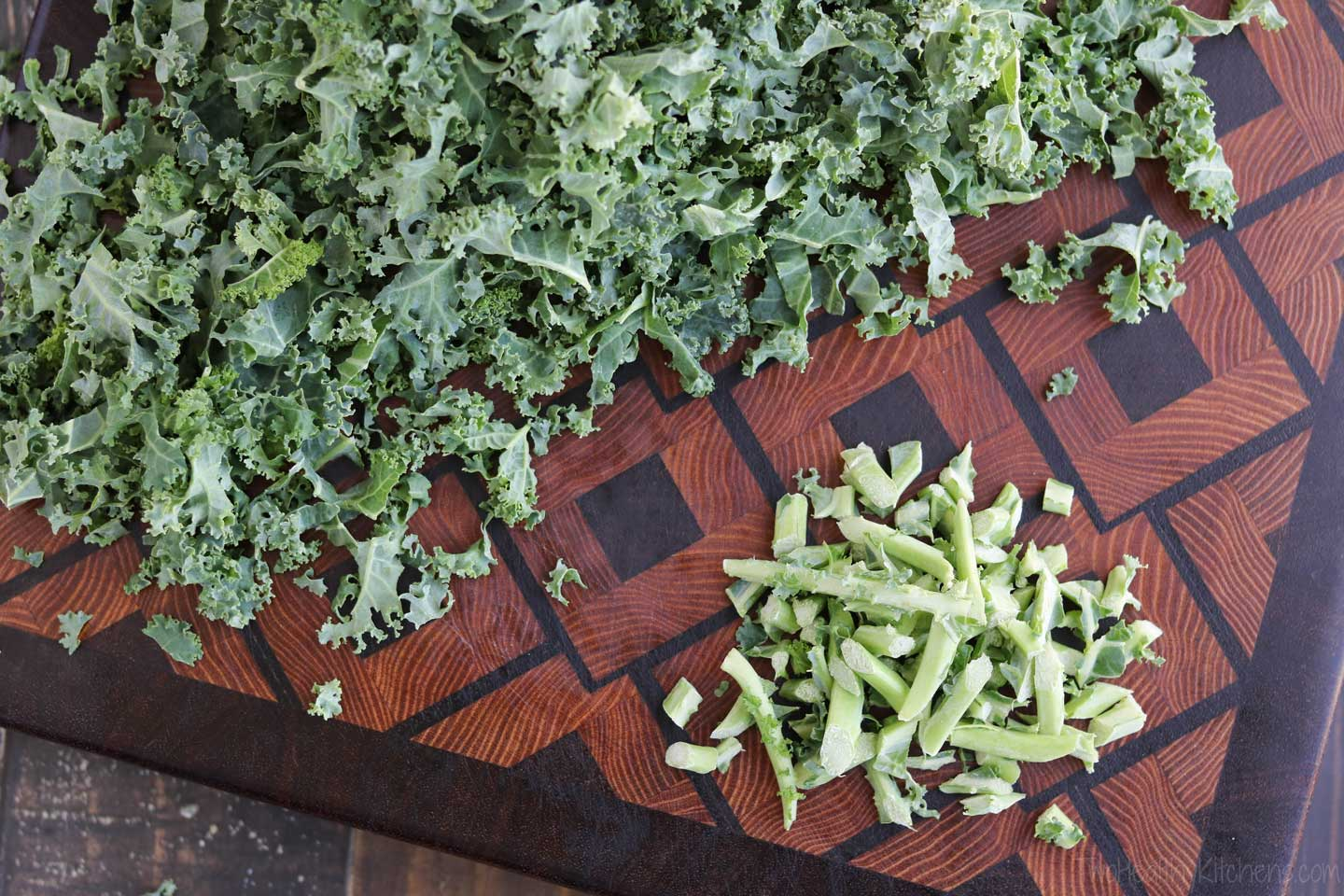 To prepare the kale for our Tuscan Kale Salad, start by removing any tough kale stems.