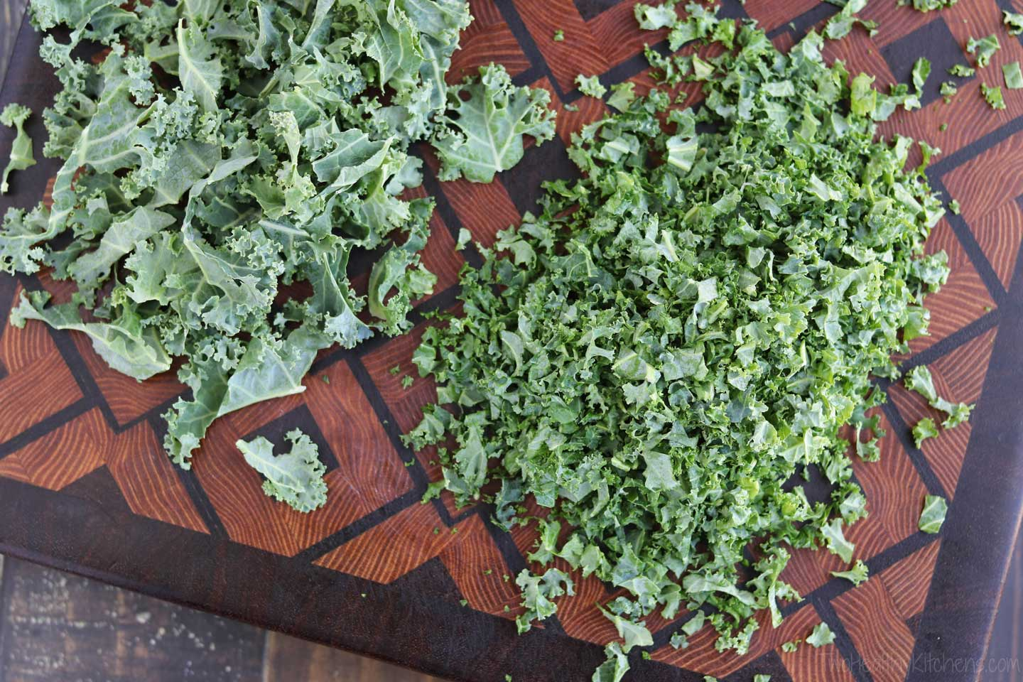 "The key to great kale texture in this salad is chopping your kale into small ""confetti"" bits so it's tender."