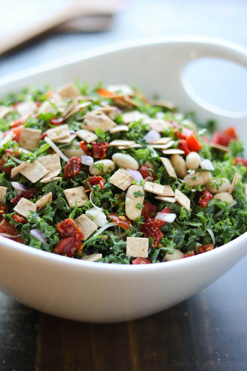 Our scrumptious Tuscan Kale Salad has so many flavors and textures in every bite!