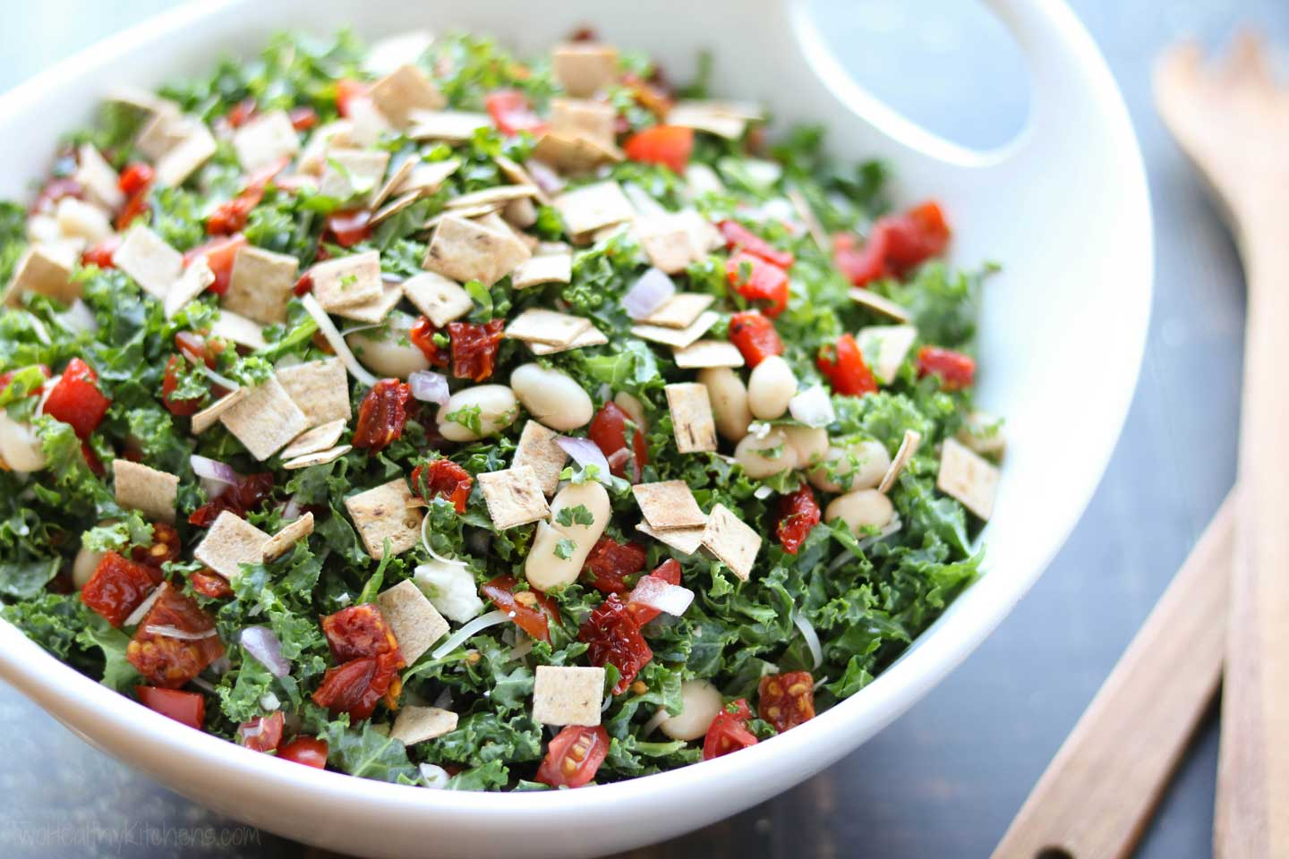 Our simple flatbread croutons add the perfect crunch to this easy kale salad!