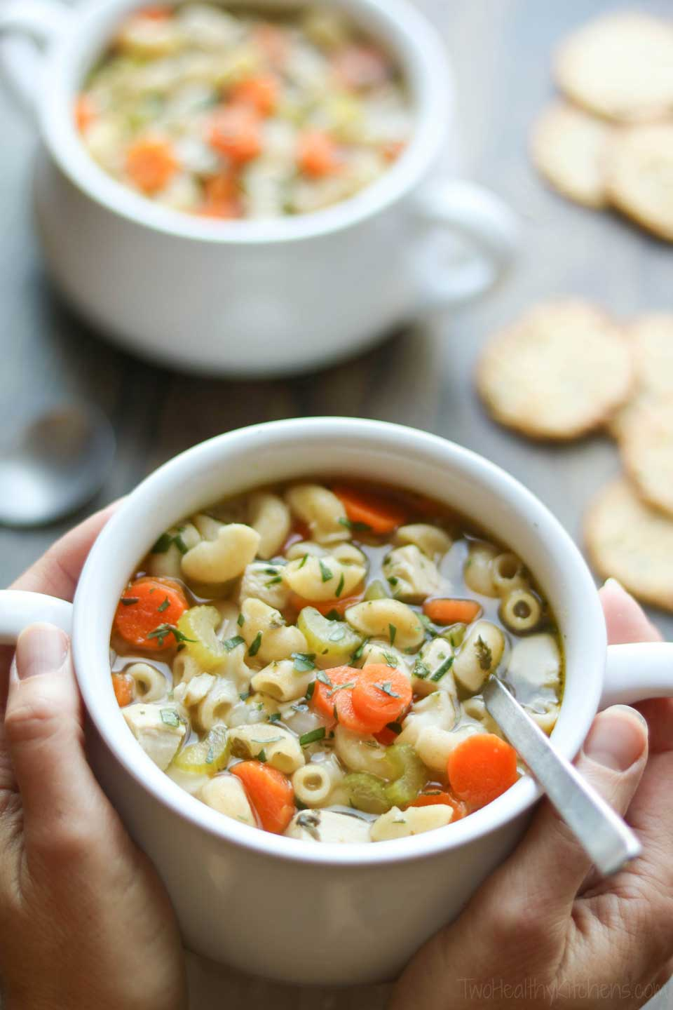 This cozy chicken noodle soup is so flavorful … and it started out with low-sodium chicken broth instead of regular!