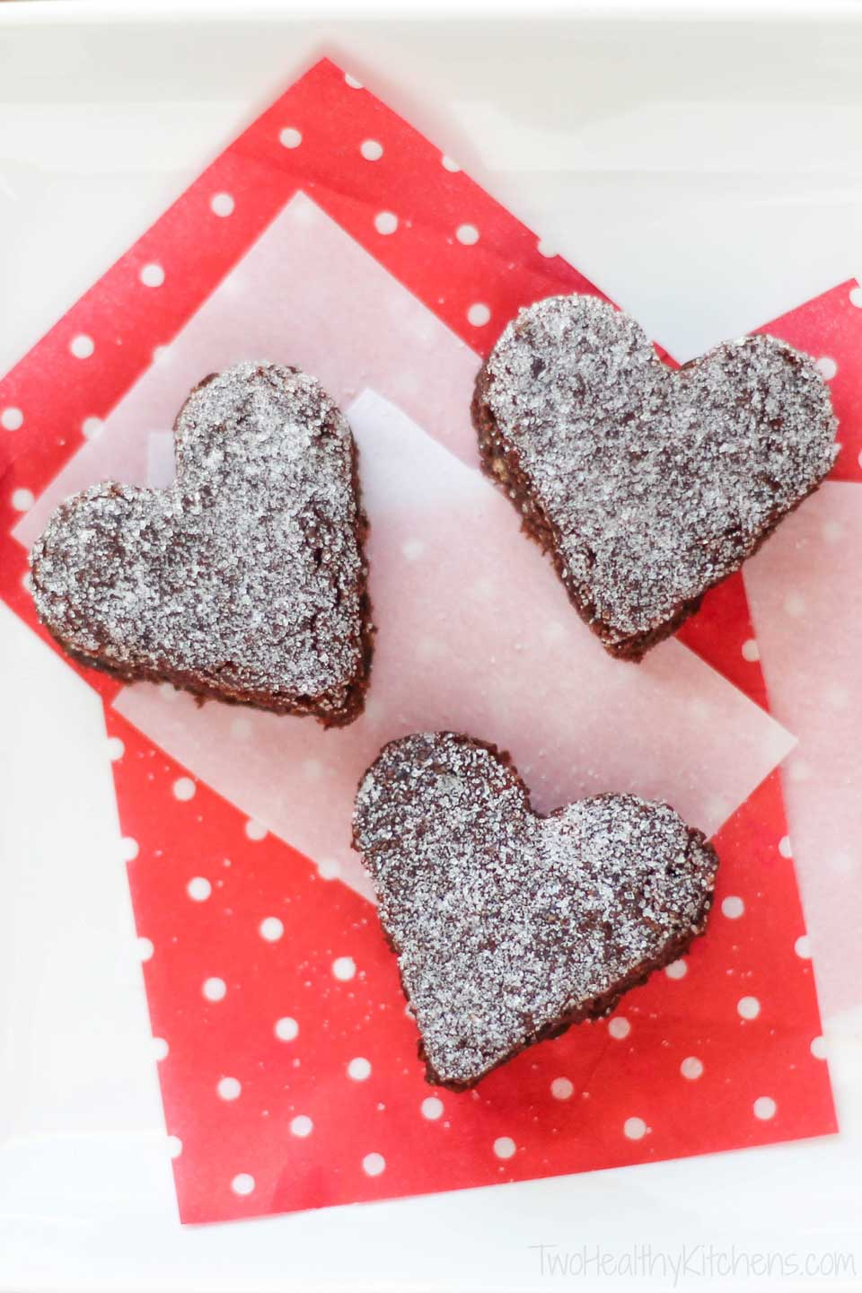 whole-wheat brownies dusted with sugar and cut into heart shapes