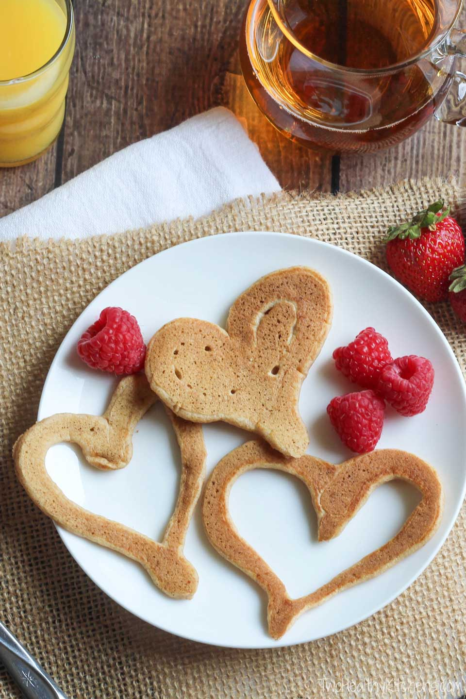 plate of three heart-shaped pancakes