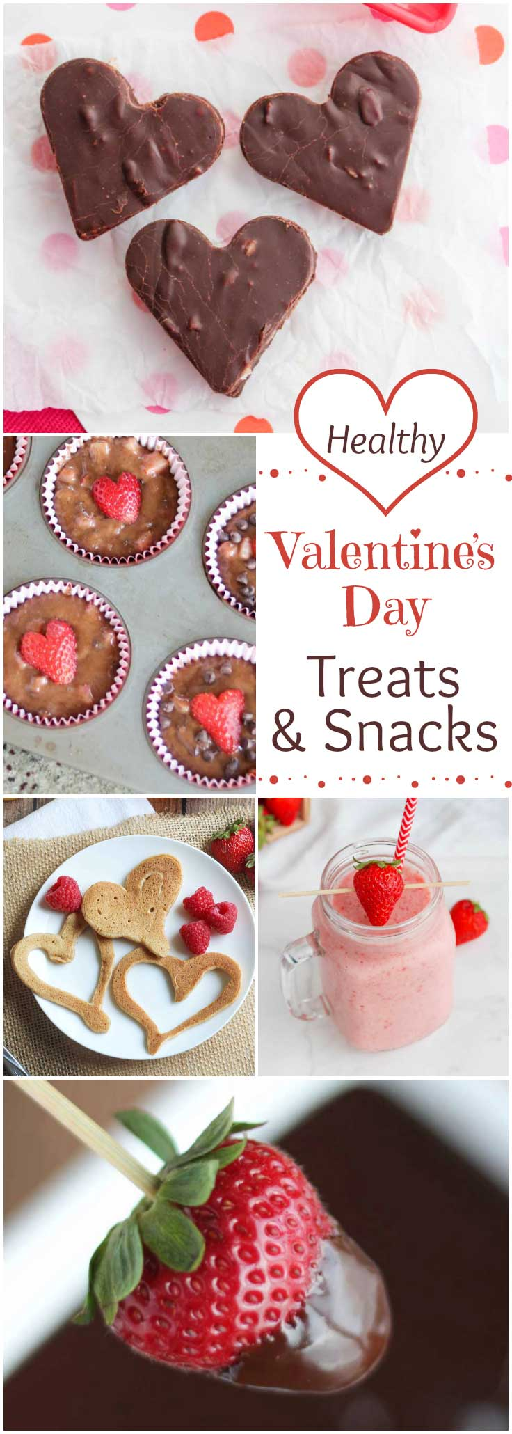A decadent collection of easy, healthy Valentine's Day treats and Valentine snacks! Several have only 3 or 4 ingredients – so simple! Great Valentine ideas for after-school snacks, Valentine class parties, even romantic desserts! From healthier brownies and fudge to frozen heart pops, lava dip, heart-studded fruit kabobs … and more! | #Valentines #treats #Valentine #ValentinesDay #healthyValentine #hearts #healthyrecipes #easyrecipes #healthydessert #healthytreats | www.TwoHealthyKitchens.com