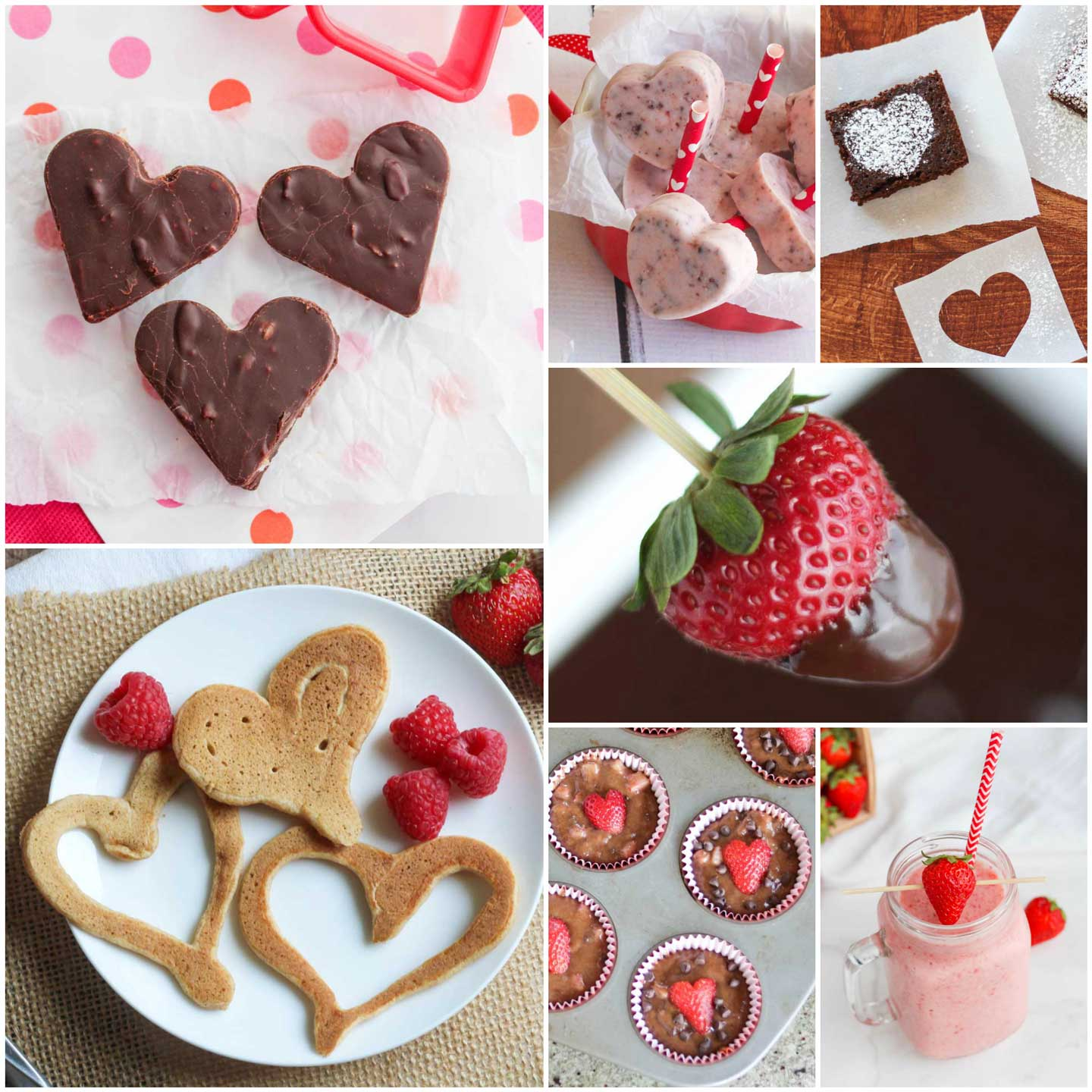 square collage of healthy Valentine treat recipes from this post