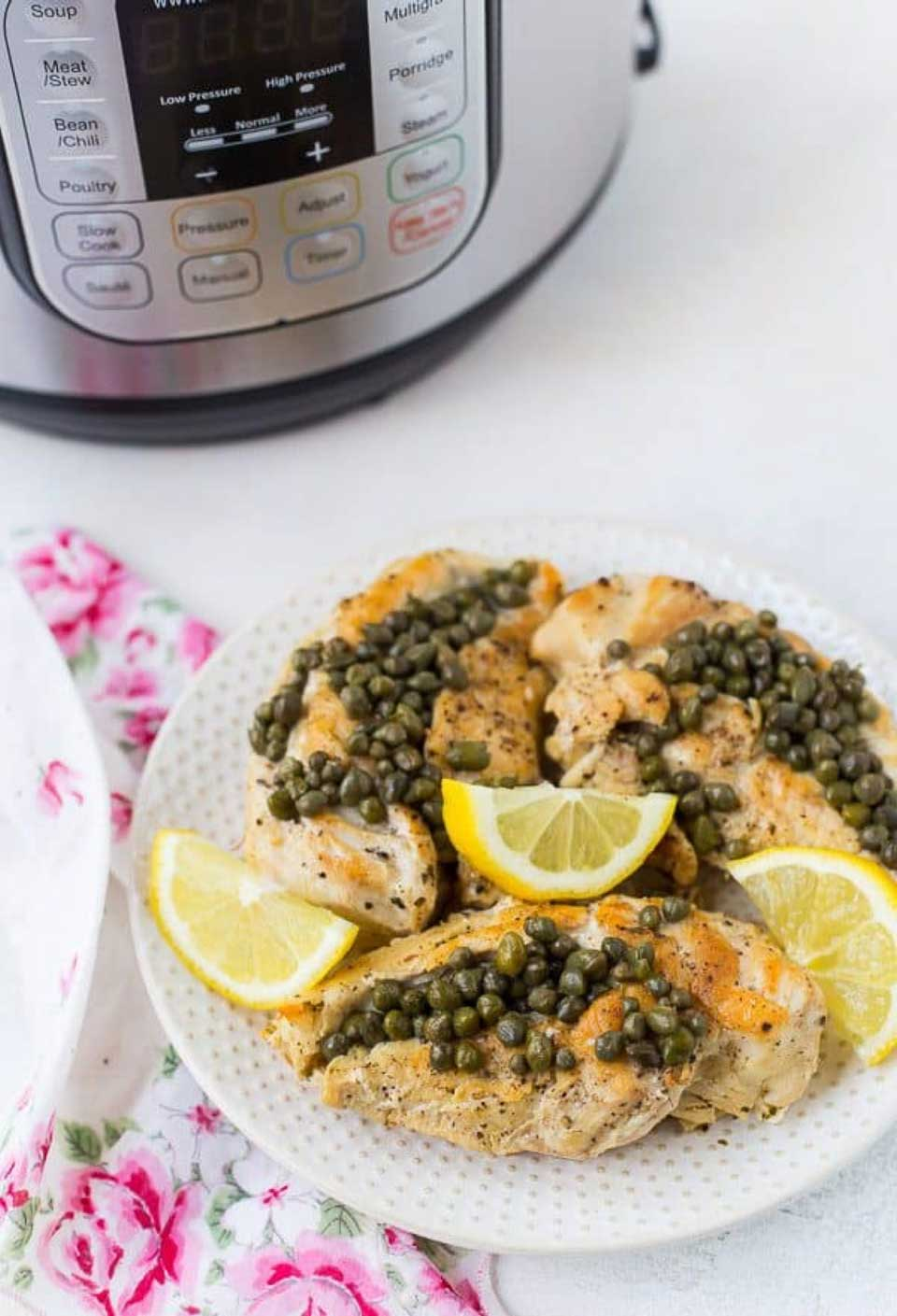Classic chicken piccata is ready in a hurry when you use your pressure cooker! This Healthy Chicken Piccata in the Instant Pot from Rachel at Rachel Cooks is just one of the many terrific pressure cooker chicken dinners we've got for you in our yummy recipe round-up!