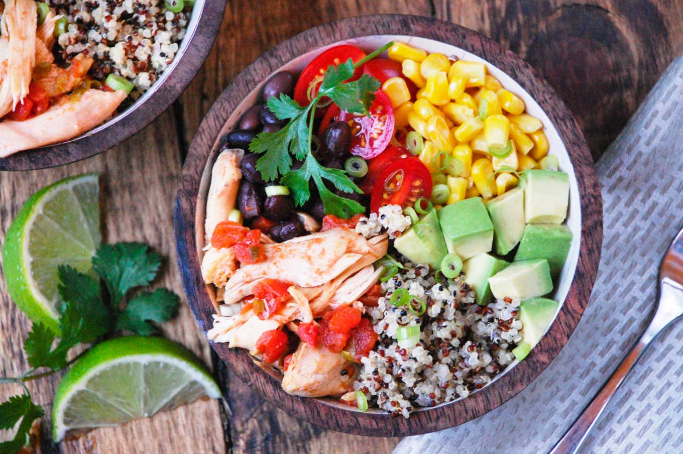 These high-protein Instant Pot Chicken and Quinoa Bowls from Lauren at Meals, Heels & Cocktails is just one of 20 terrific chicken dinners you can make quickly and easily in your electric pressure cooker! Be sure to check them all out … and then get cookin'!