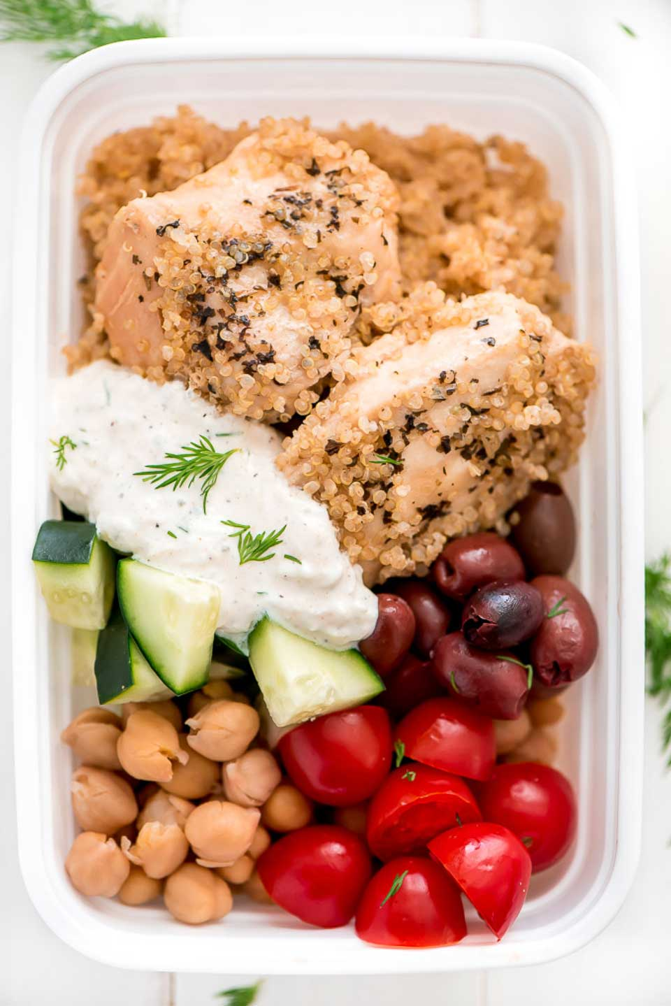Our list of Healthy Instant Pot Chicken Recipes includes this scrumptious Instant Pot Greek Chicken Quinoa Bowls {Meal Prep} from Melanie at Garnish & Glaze. What a great way to pre-cook weekly meals!