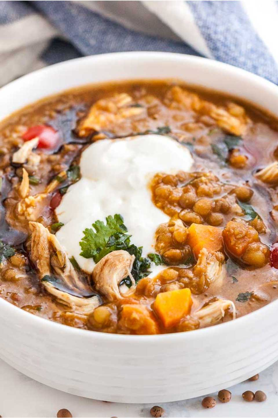 Full of whole grains and veggies, this Instant Pot Lentil Soup with Vegetables from Julia at Plated Cravings takes chicken soup to a whole new level of flavor and nutrition! And don't miss all our other terrific pressure cooker chicken soup recipes, too!