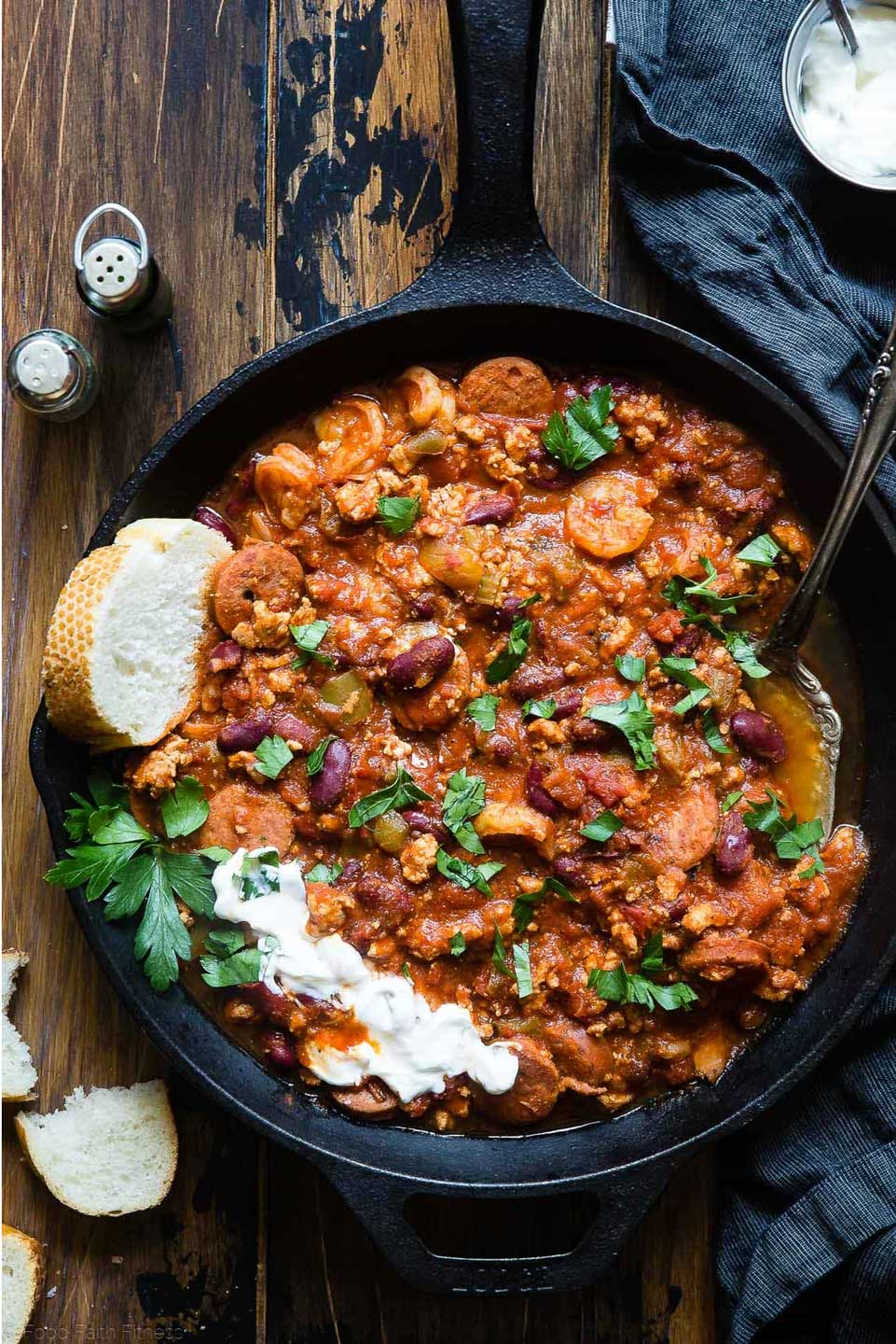 Our list of quick and easy Chili Recipes includes this yummy Cajun Instant Pot Chili from Taylor at Food Faith Fitness