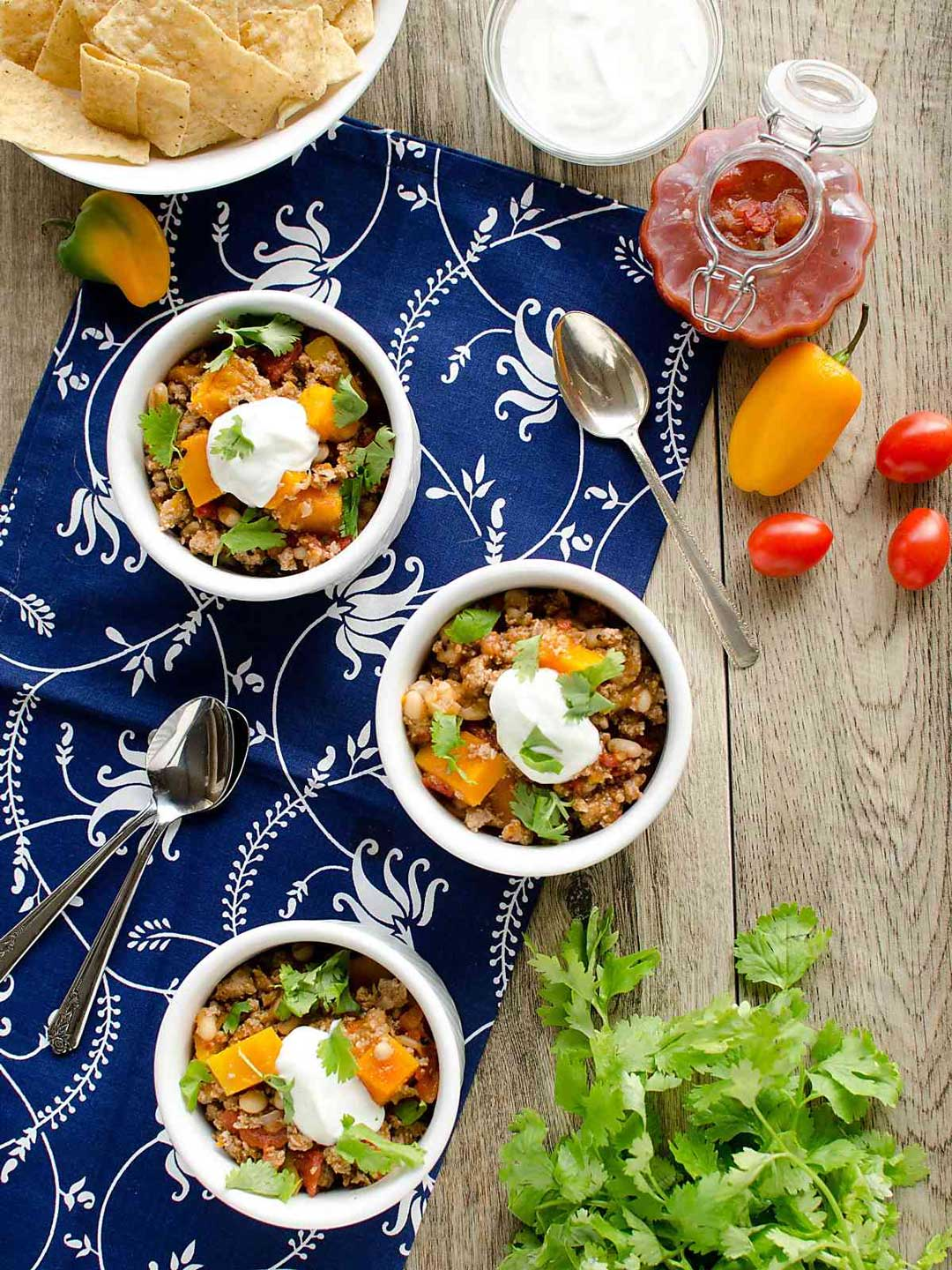 This recipe for Instant Pot Turkey Chili {with Butternut Squash} from Chellie at Art from My Table is just one of 17 featured chilis – be sure to check them ALL out!