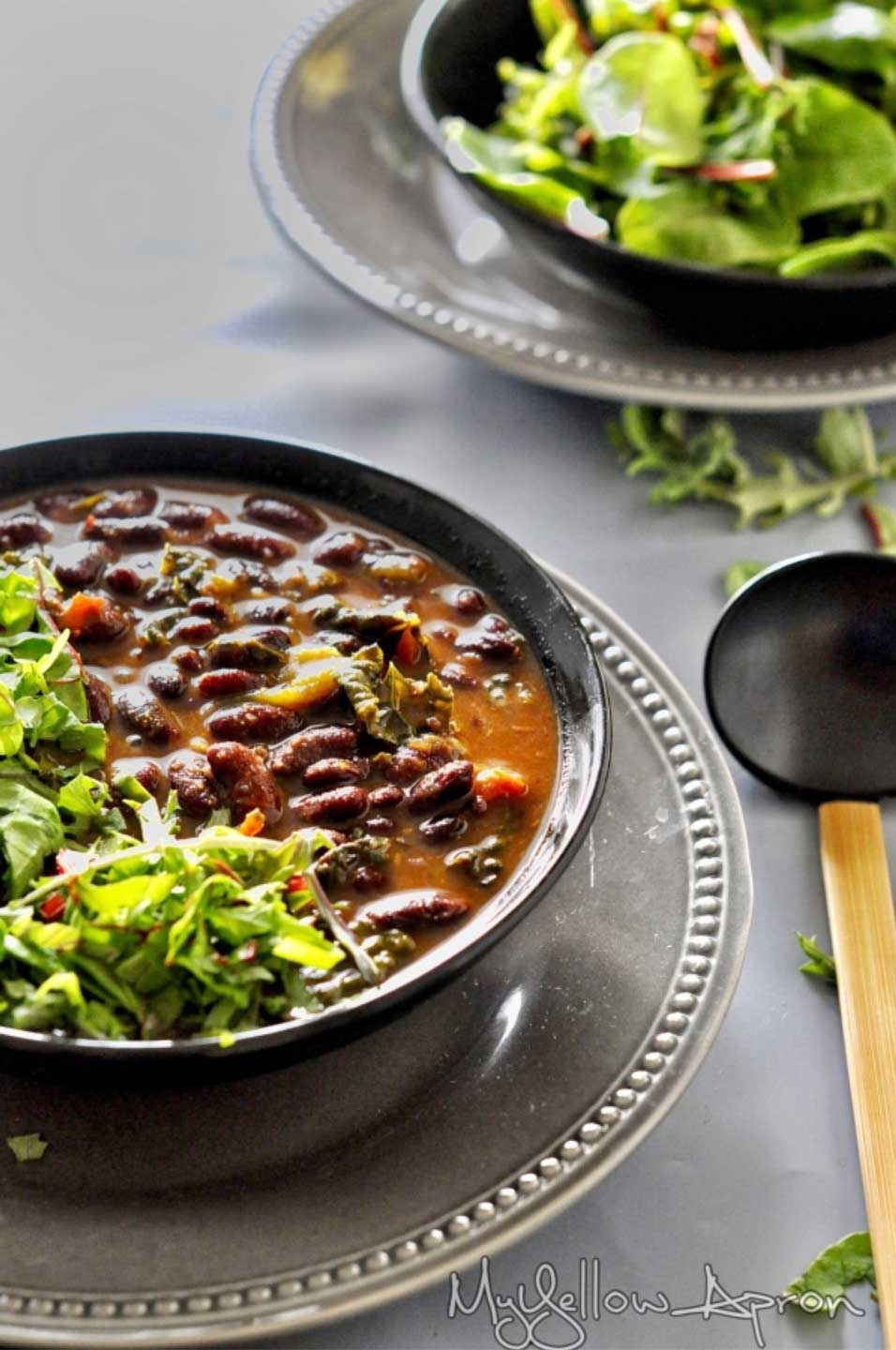 Chili with Spinach?!? Why not?? Try this Vegetarian Chili with Spinach (Palak Rajma) from Aish at My Yellow Apron … and then check out our whole list of scrumptious chili recipes, specifically designed as electric pressure cooker recipes so they're all easy and FAST!