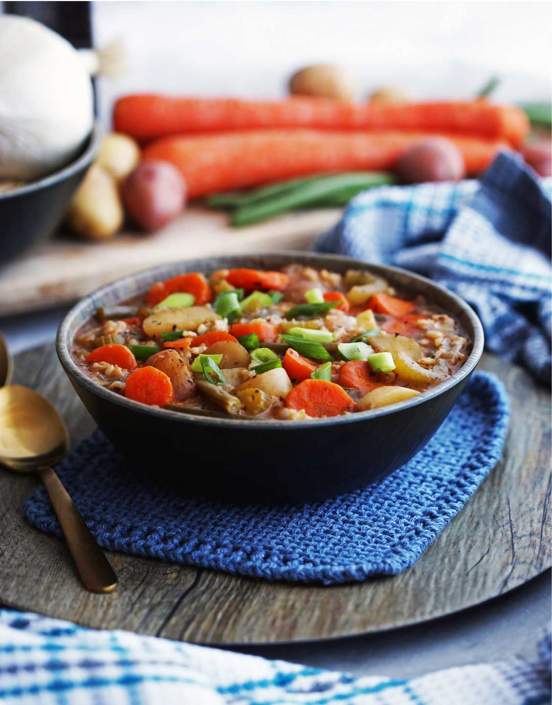 So much hearty, homestyle goodness in every bowl of this vegan Instant Pot Hearty Vegetable and Brown Rice Soup from Marie at Yay! For Food. Be sure to check out all the other delicious, healthy vegetable soups in our line-up, too! Lots of great ideas for hearty, meatless Monday dinners!